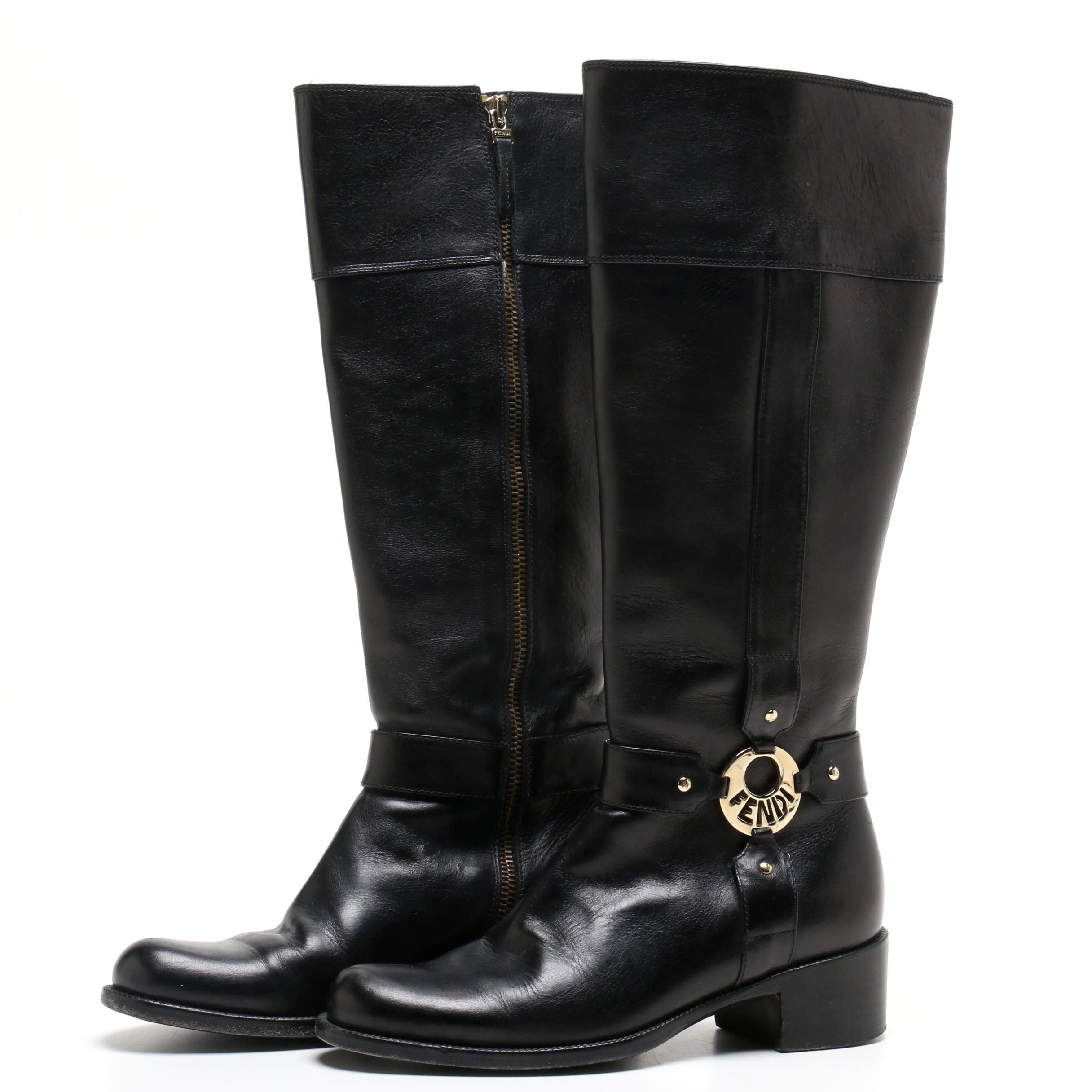 Fendi Black Leather Riding Style Knee-High Boots