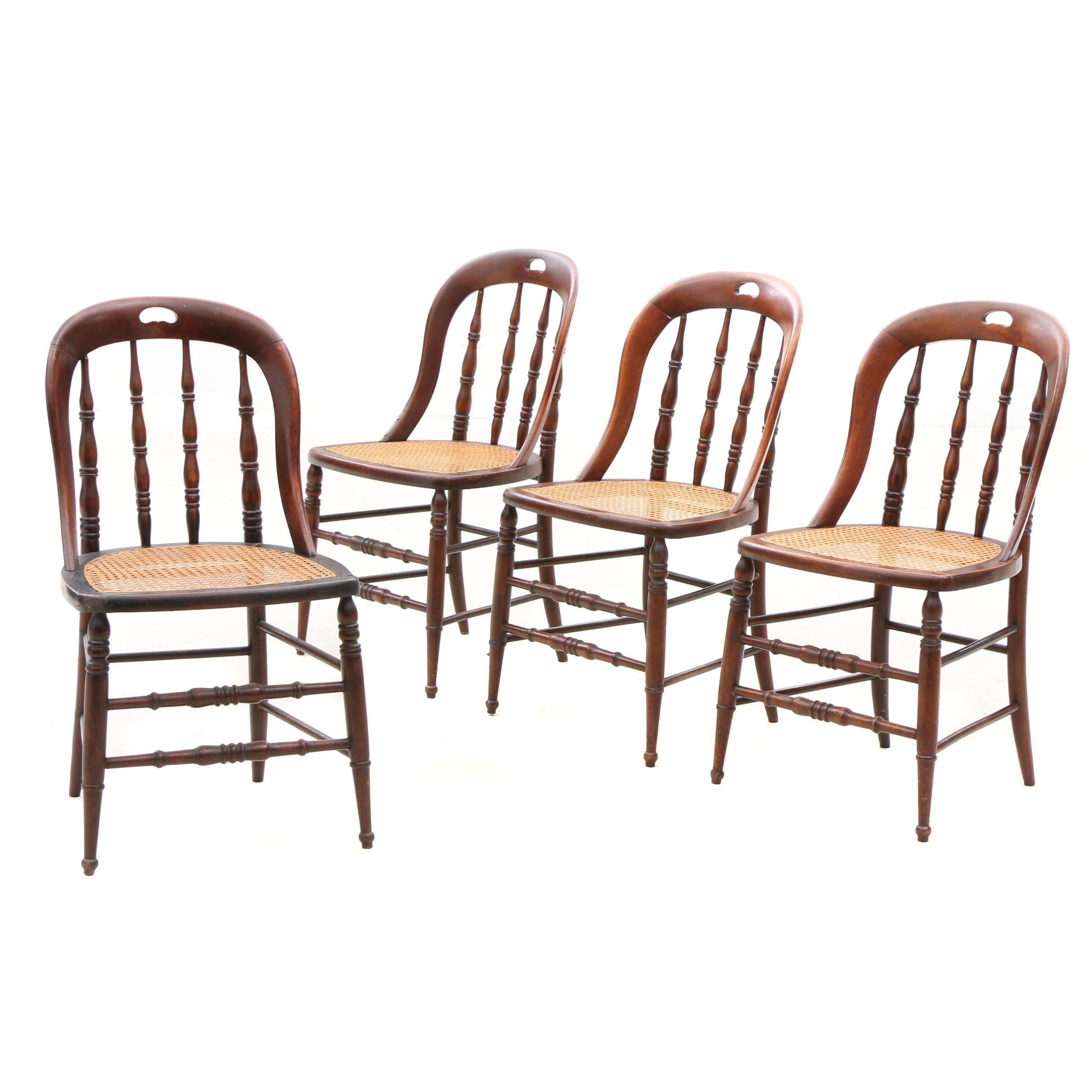 Cane and Poplar Side Chairs, Ca. Early 20th Century