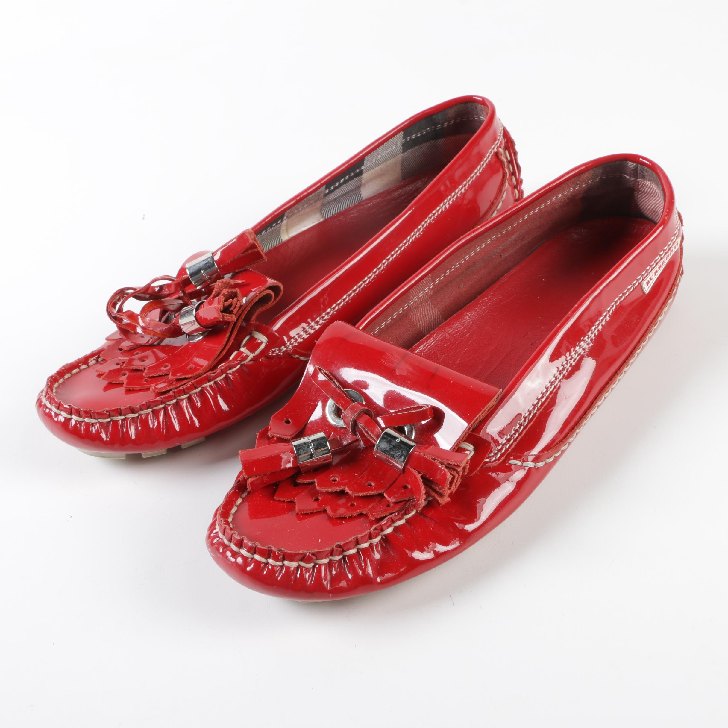 Burberry Red Patent Leather Tassel Driving Shoes