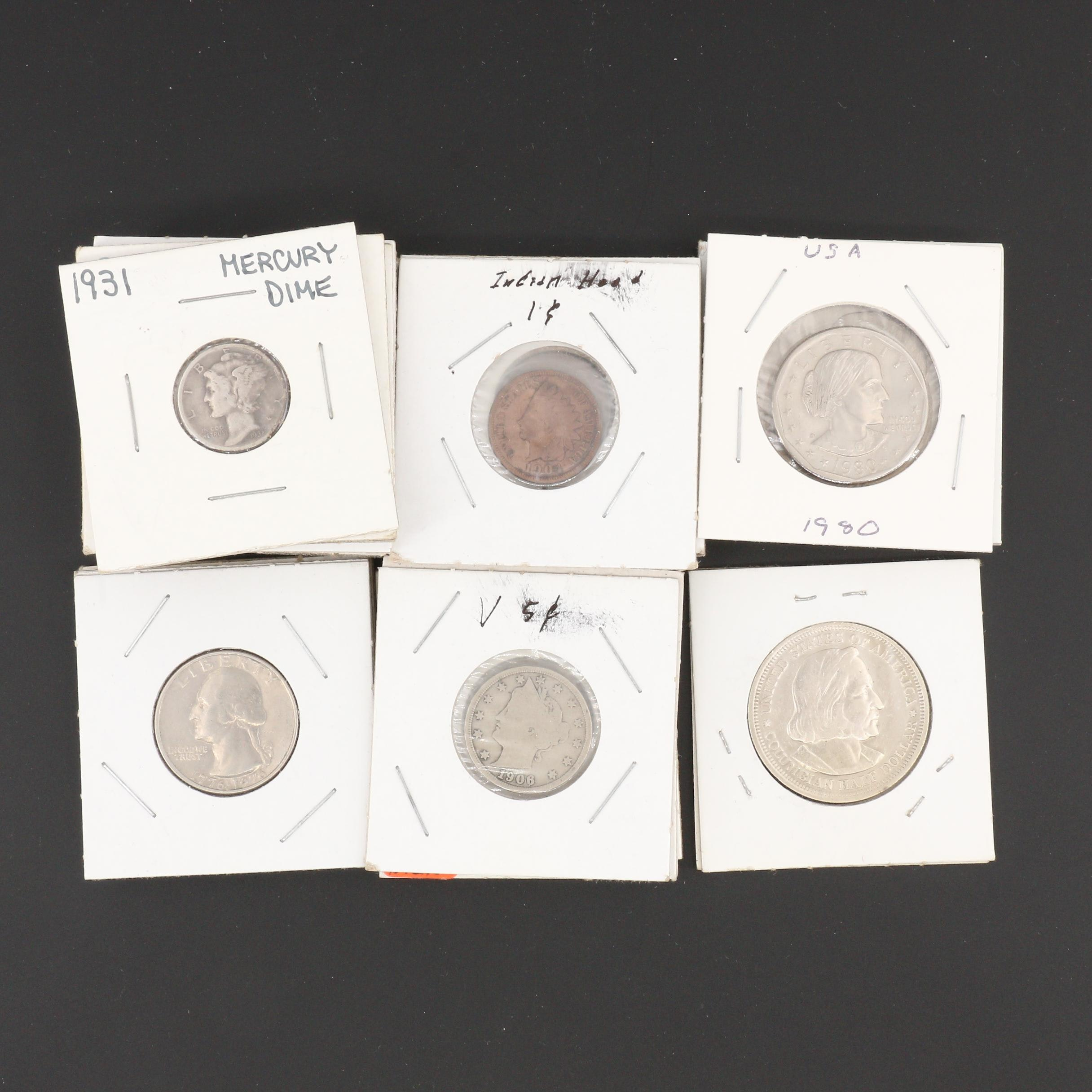 Twenty-Two Antique to Modern U.S. Coins, Including Silver