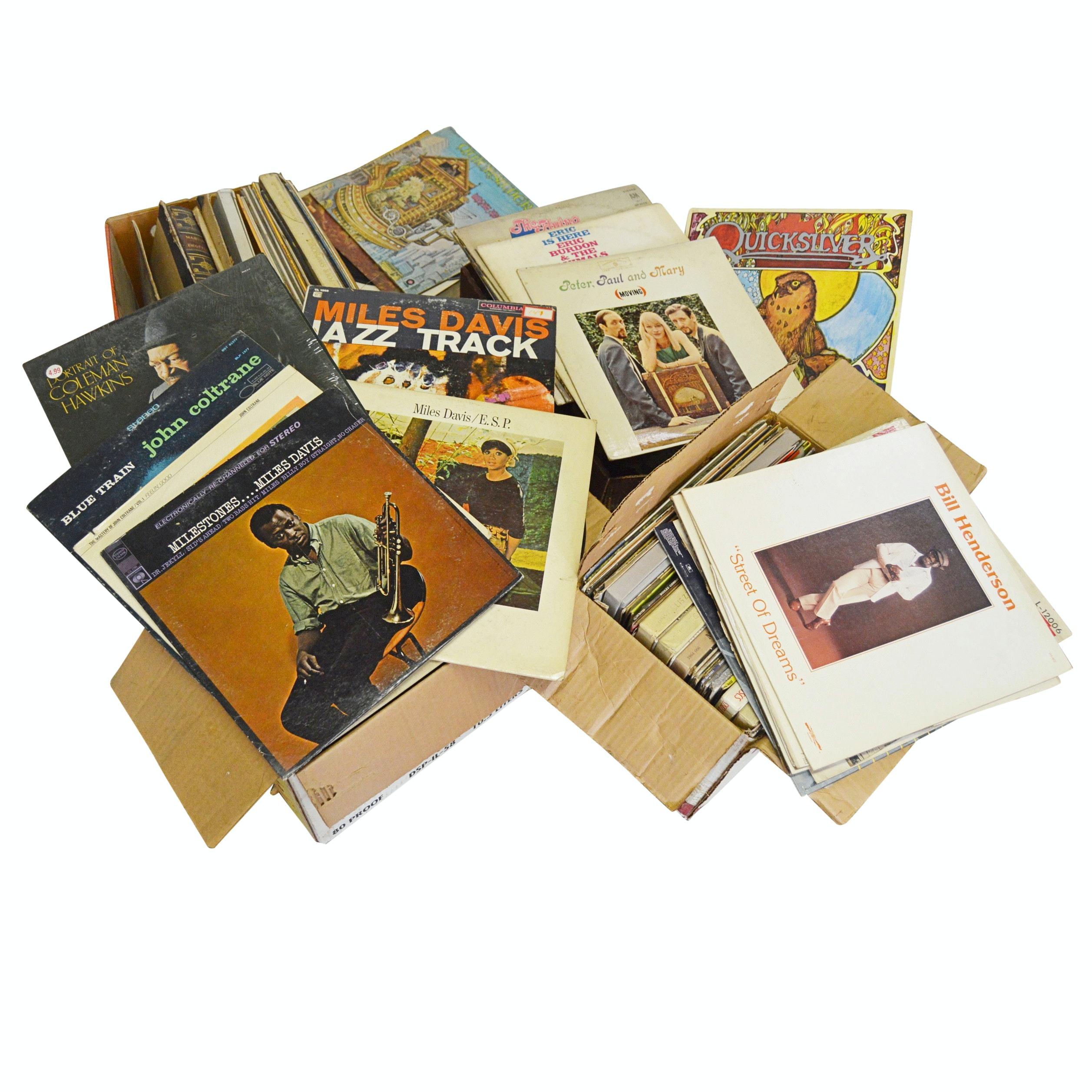 Vinyl Record Album Collection with Miles Davis, John Coltrane, Graham Parsons