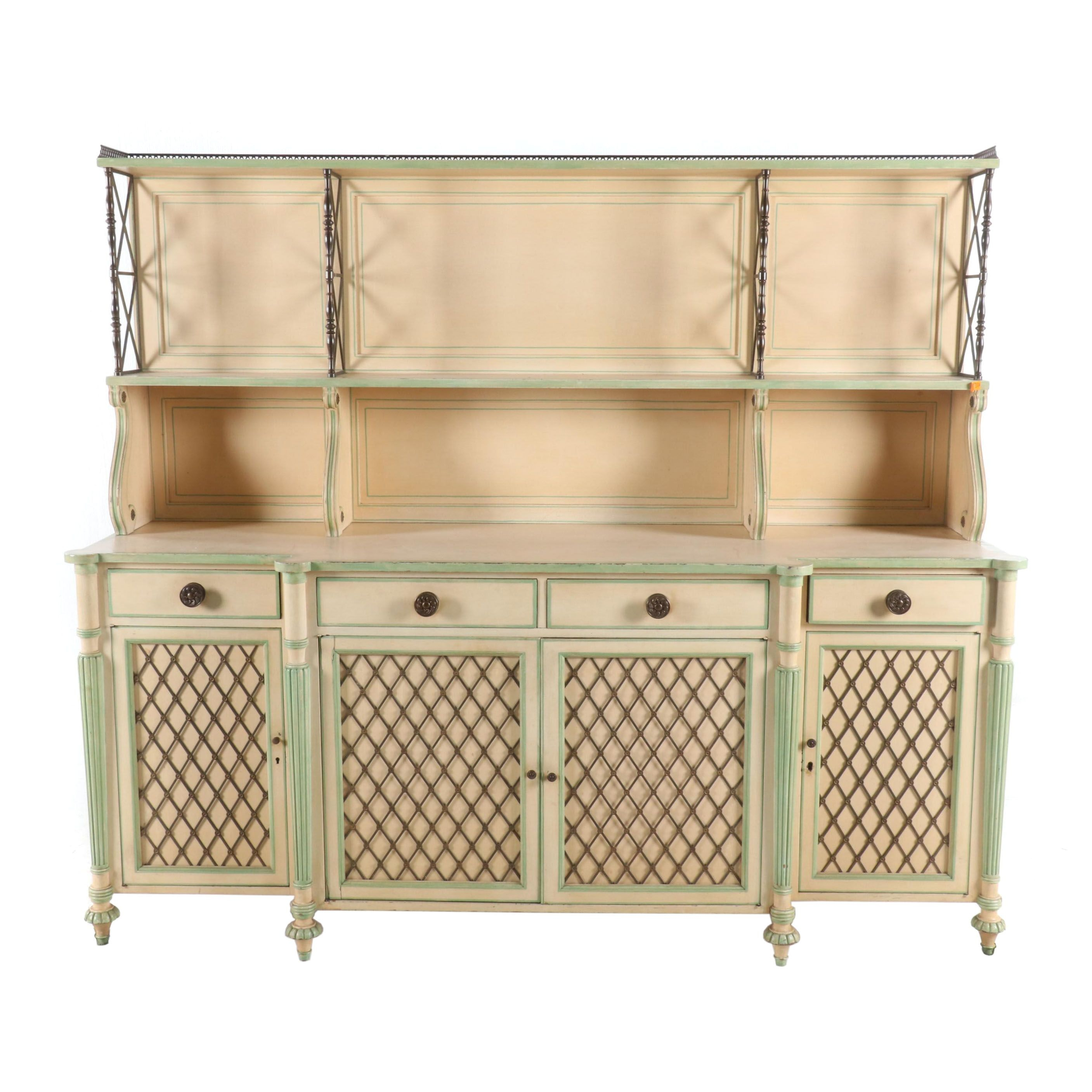 French Provincial Style Sideboard Buffet with Hutch