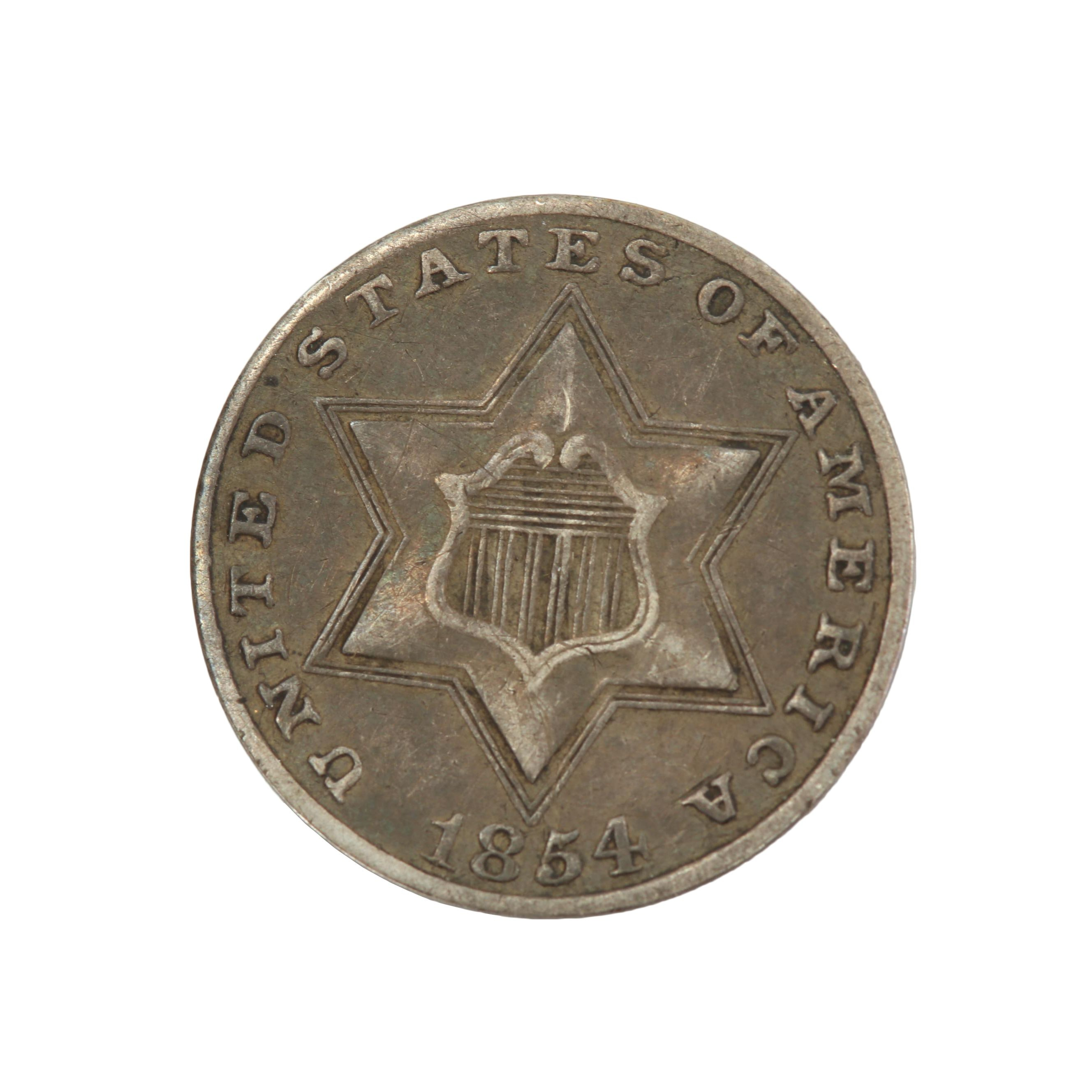 """1854 U.S. 3-Cent Silver """"Trime"""" Coin"""