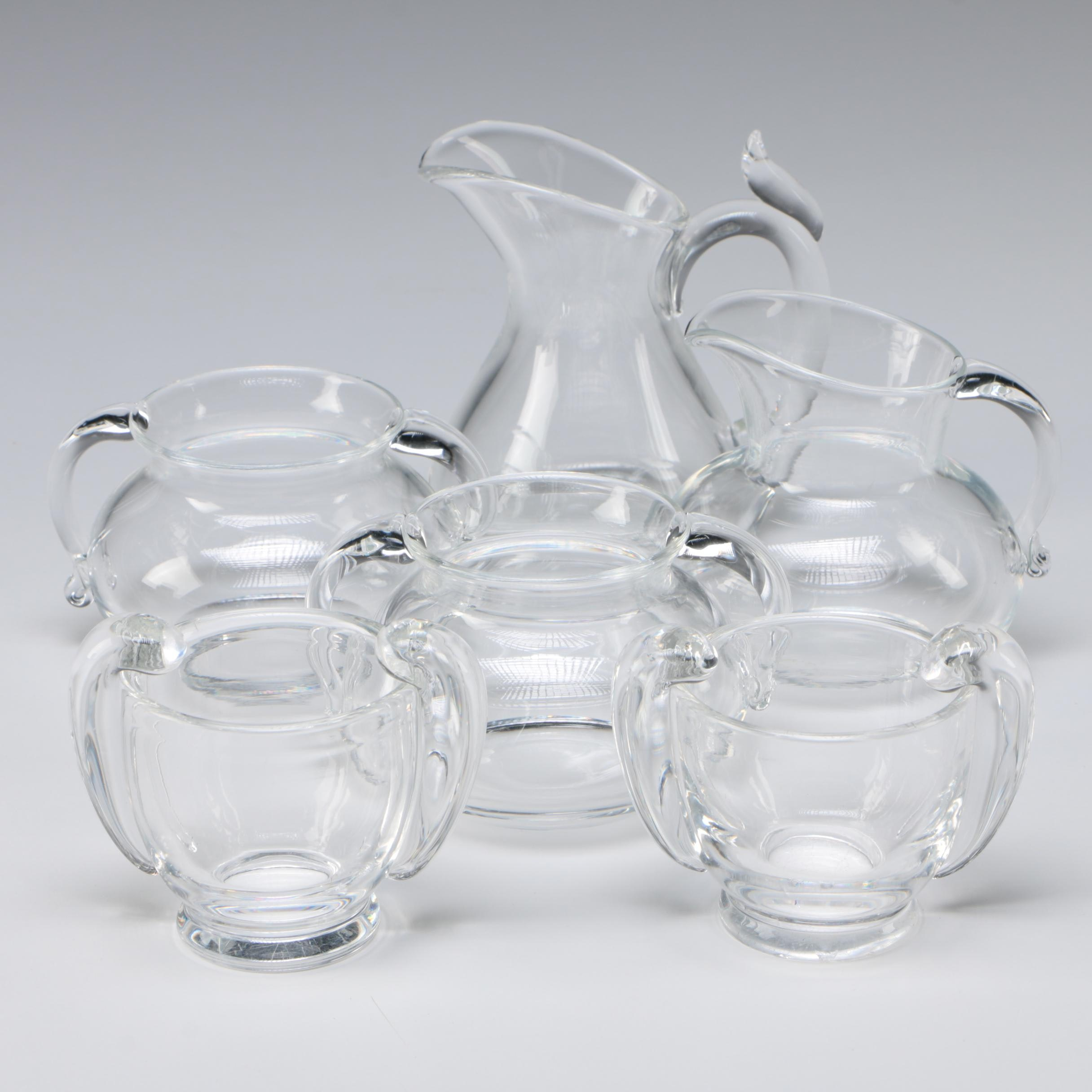 Steuben Art Glass Creamer and Sugar Bowls