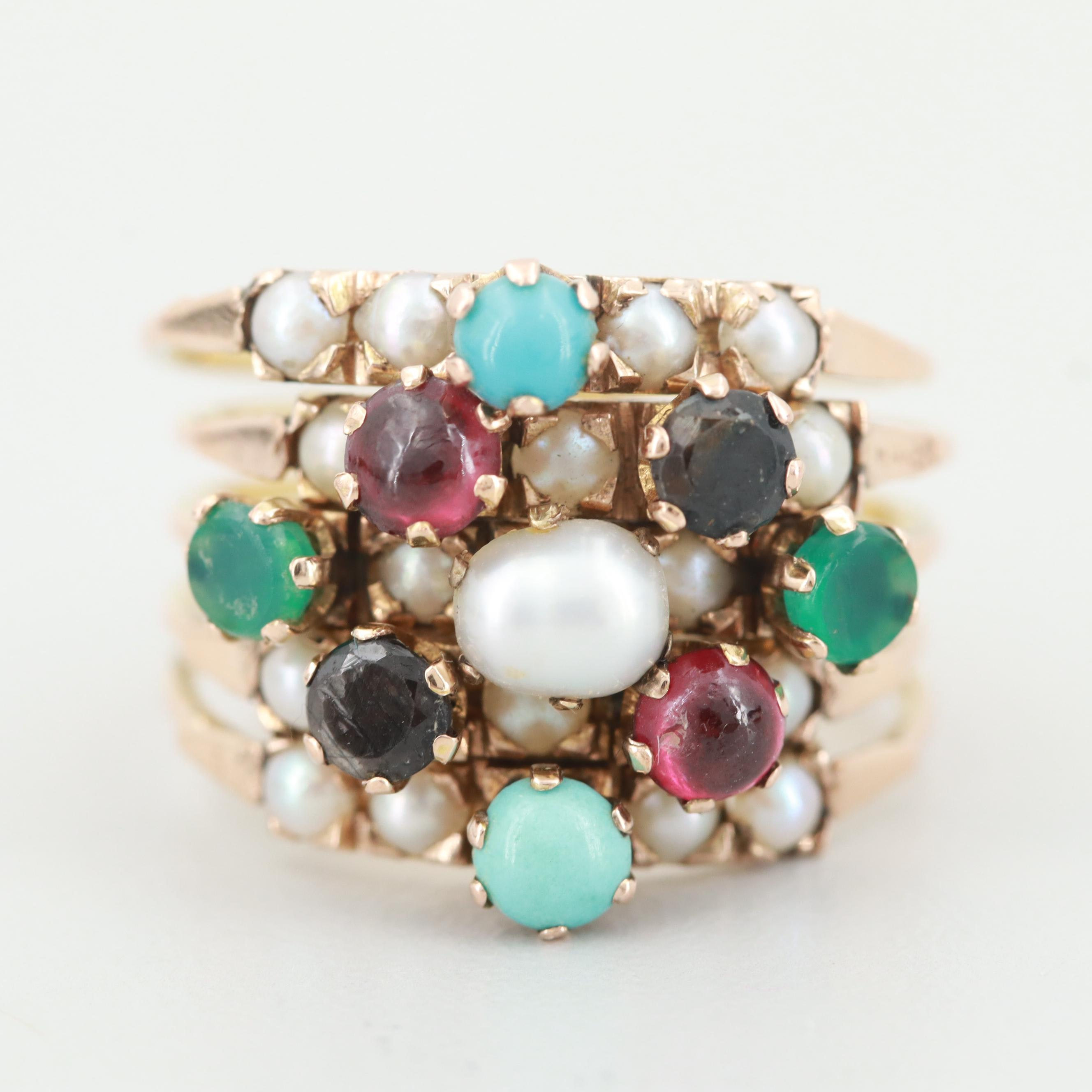 Victorian 14K Yellow Gold Gemstone Five Banded Stacker Ring