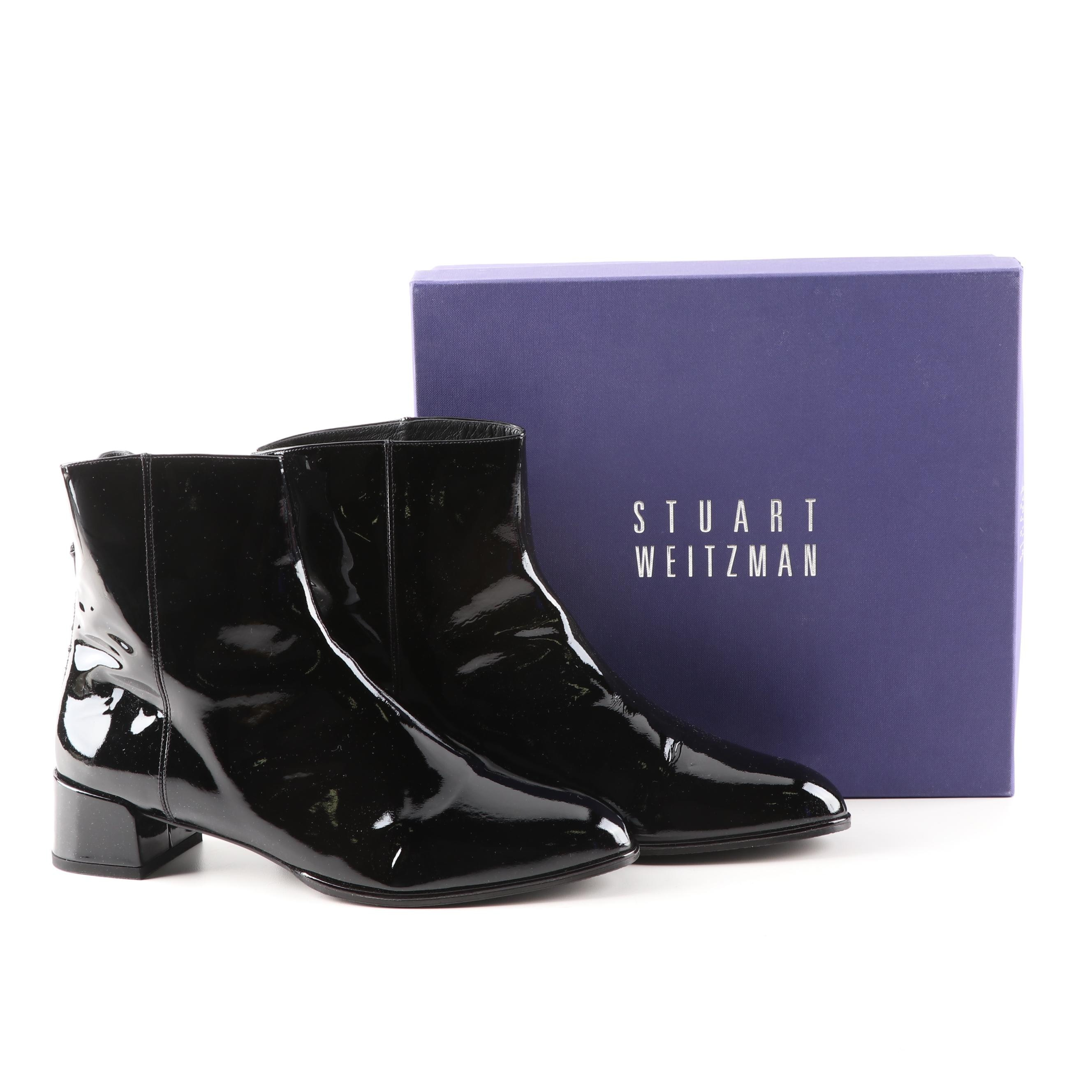 Stuart Weitzman Modesto Black Patent Leather Ankle Boots