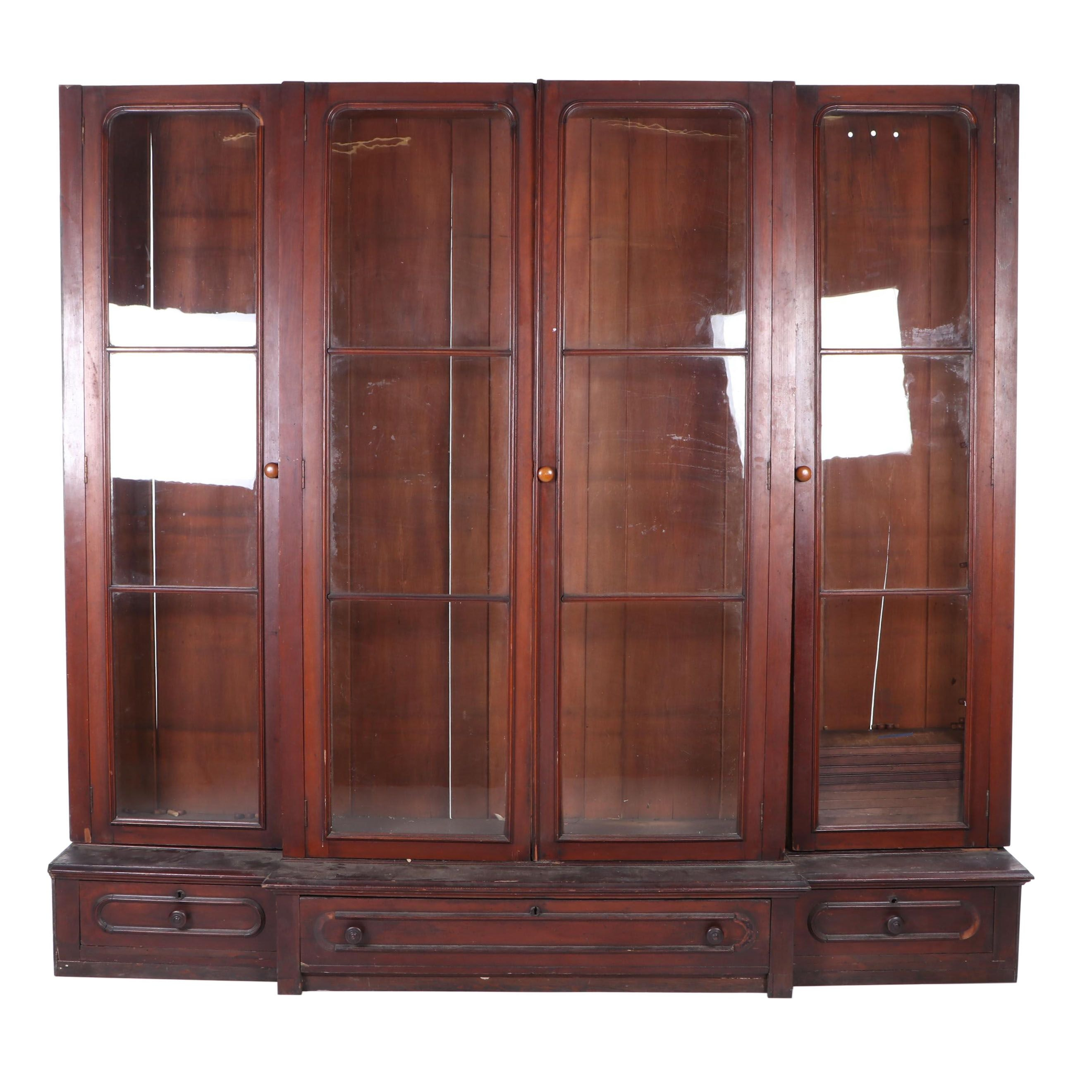 Glass Front Mahogany Display Cabinet, Early 20th Century