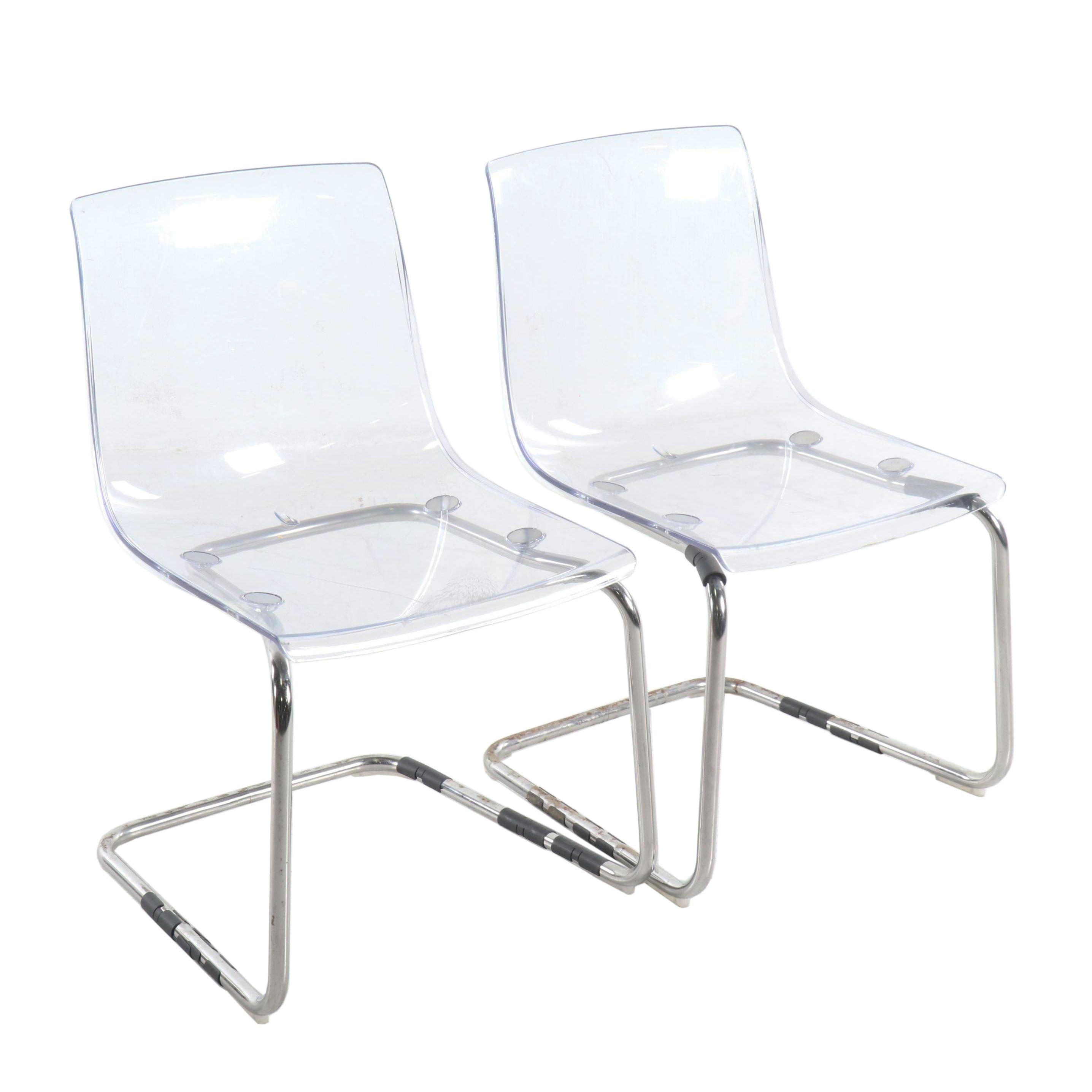 "Acrylic ""Tobias"" Side Chairs by IKEA"