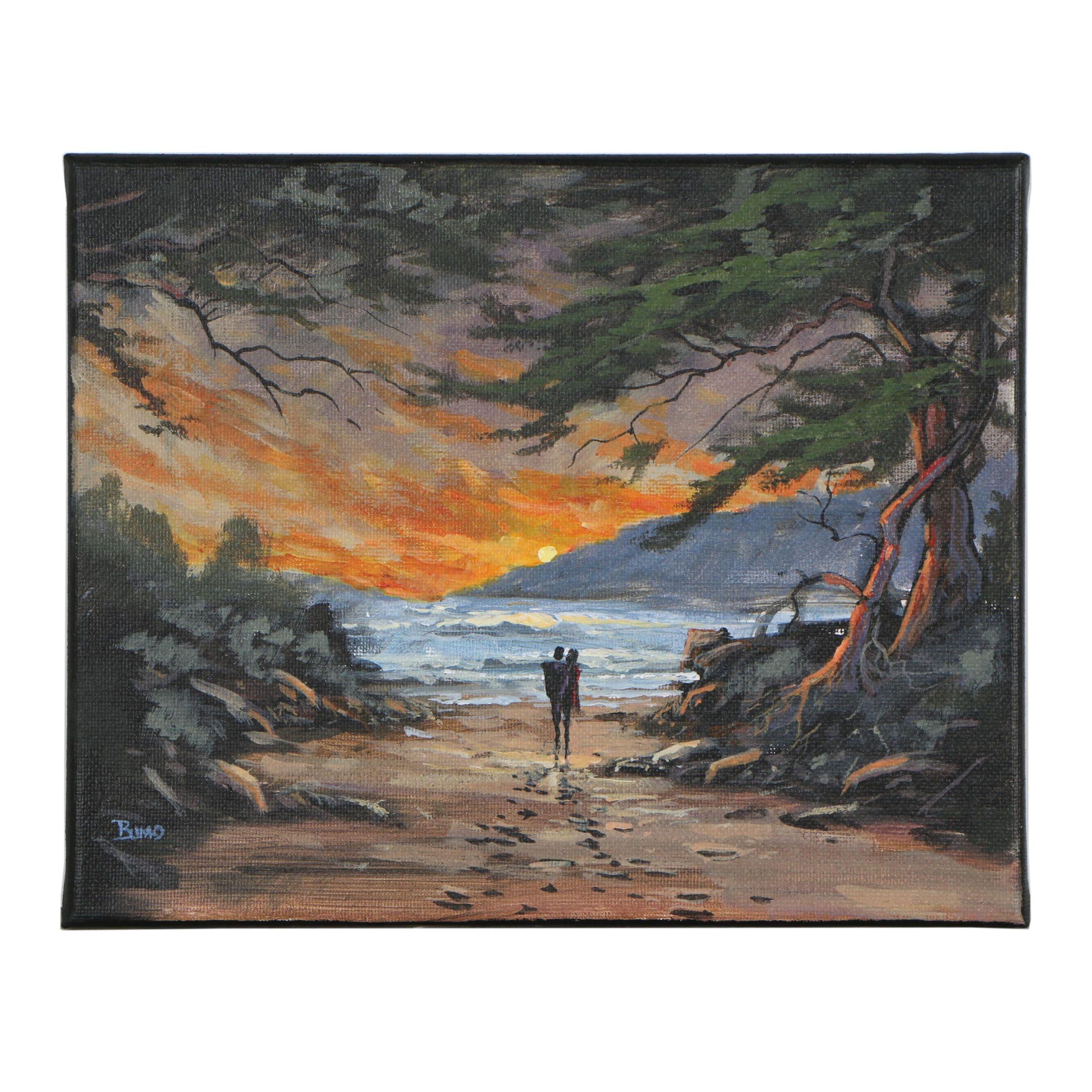 "Douglas ""Bumo"" Johnpeer Oil Painting ""Beach Access"", 2019"