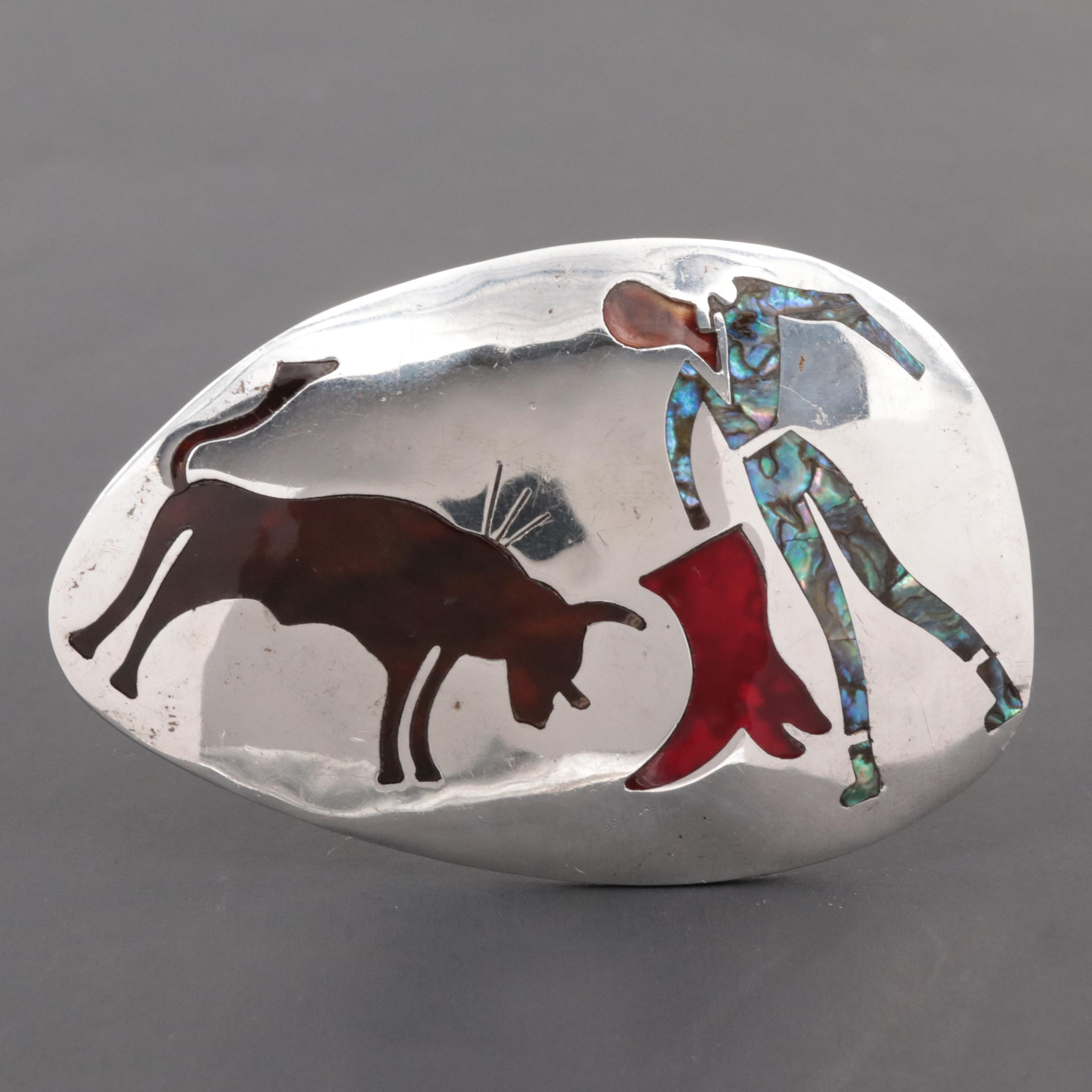 Mexican Sterling Silver Converter Brooch with Inlaid Abalone and Resin Enamel