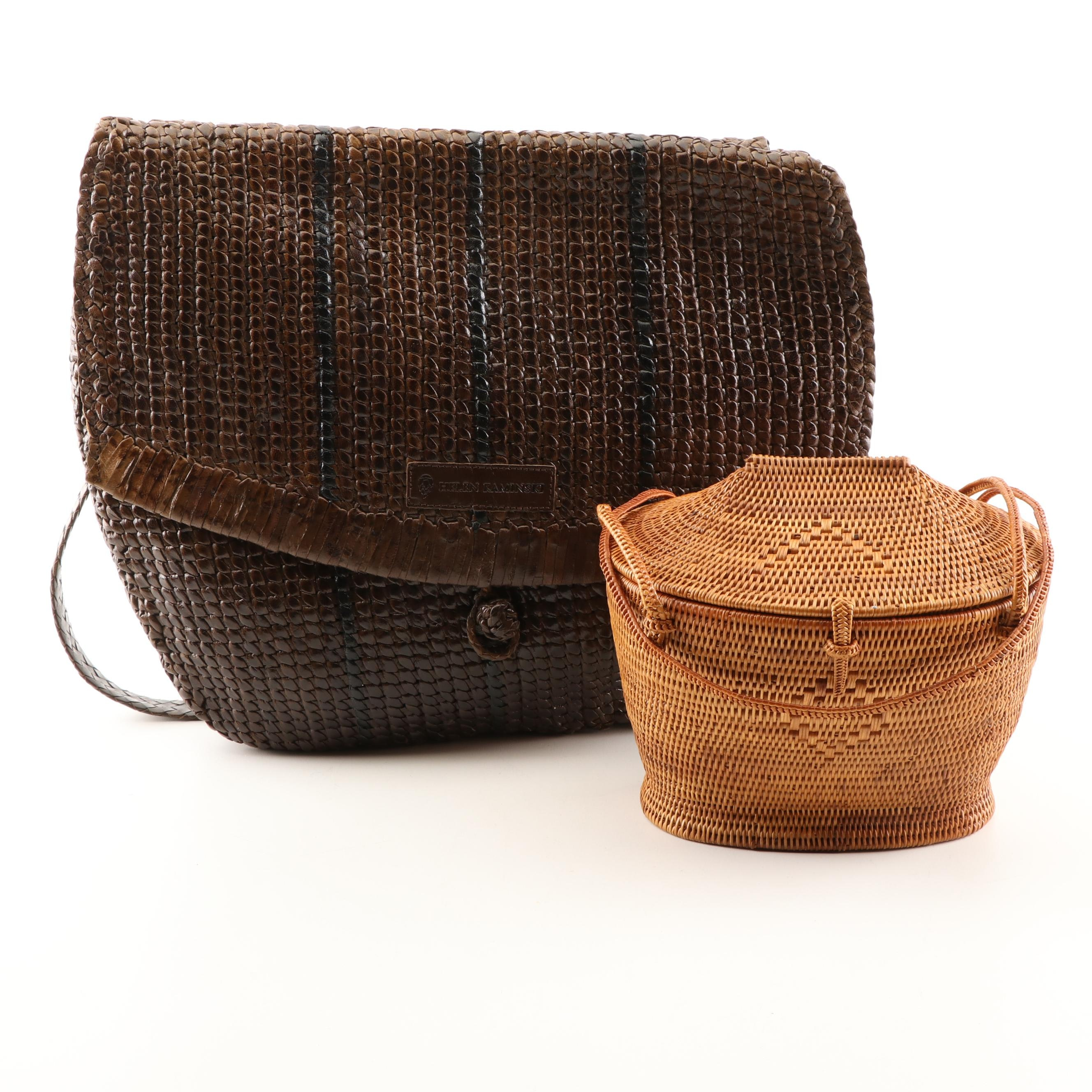 Helen Kaminski Australia Woven Brown Leather Shoulder Bag and a Rattan Box Purse