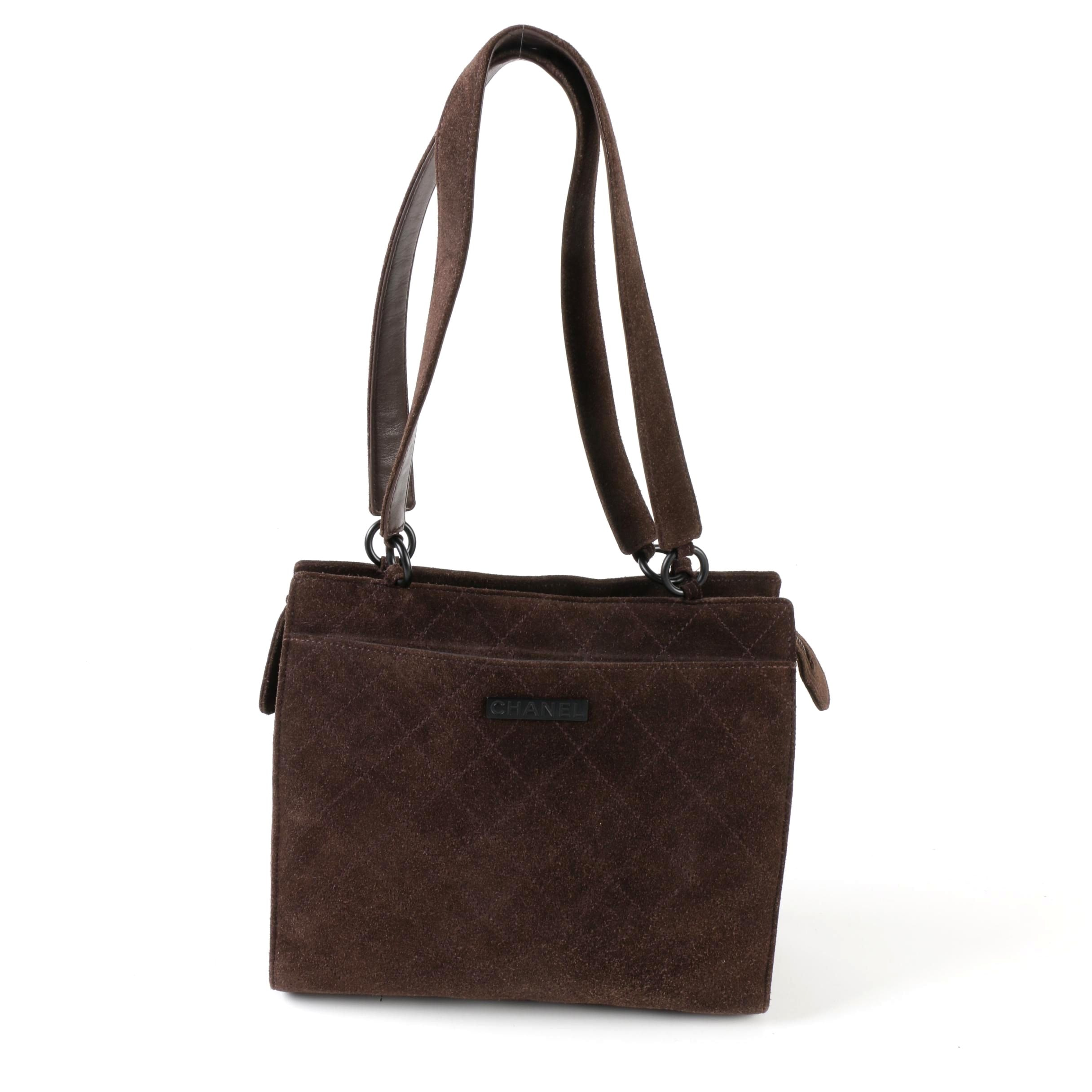 Chanel Brown Diamond Quilted Suede and Leather Shoulder Tote