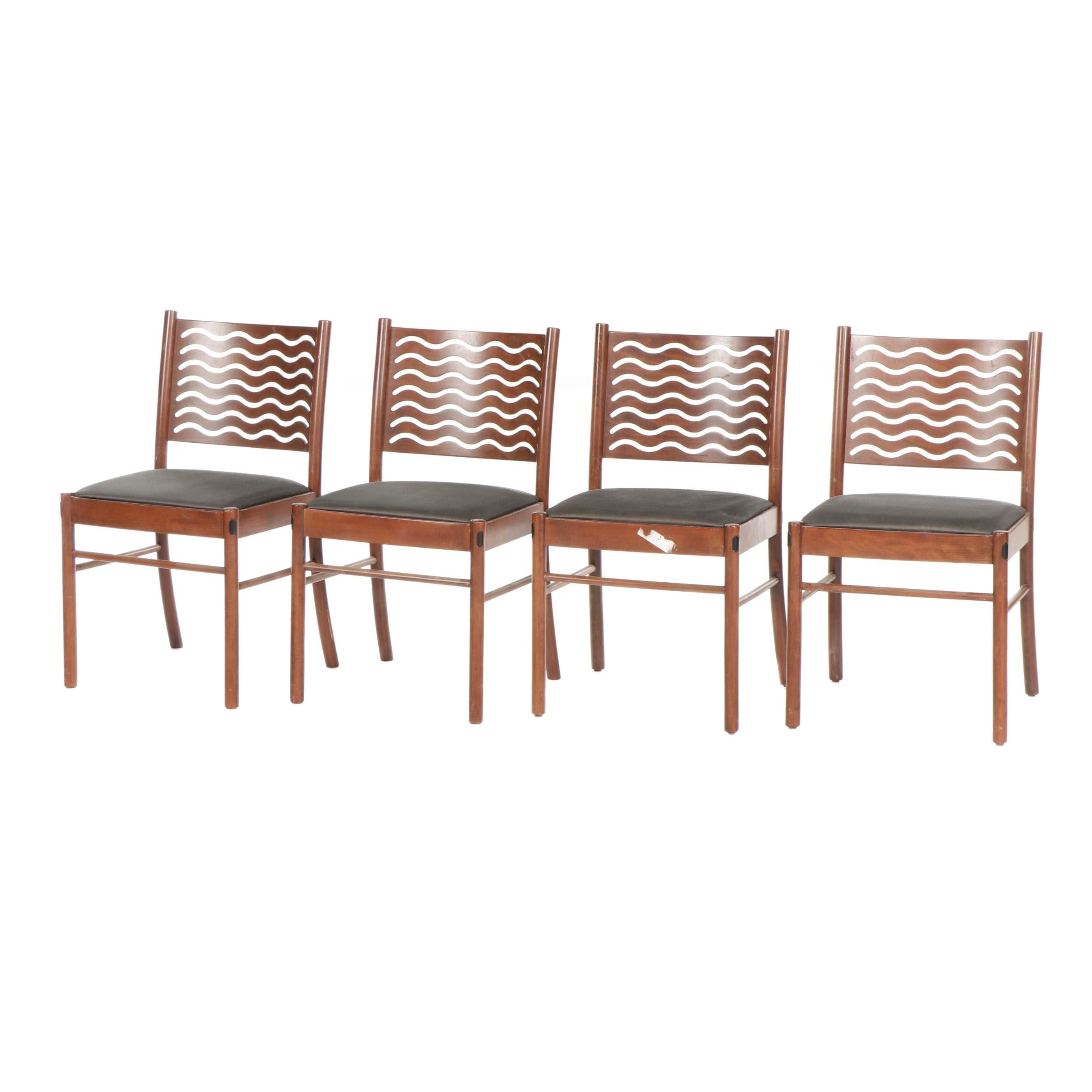 Modern Style Atelier International Wooden Side Chairs with Wave Pierced Back