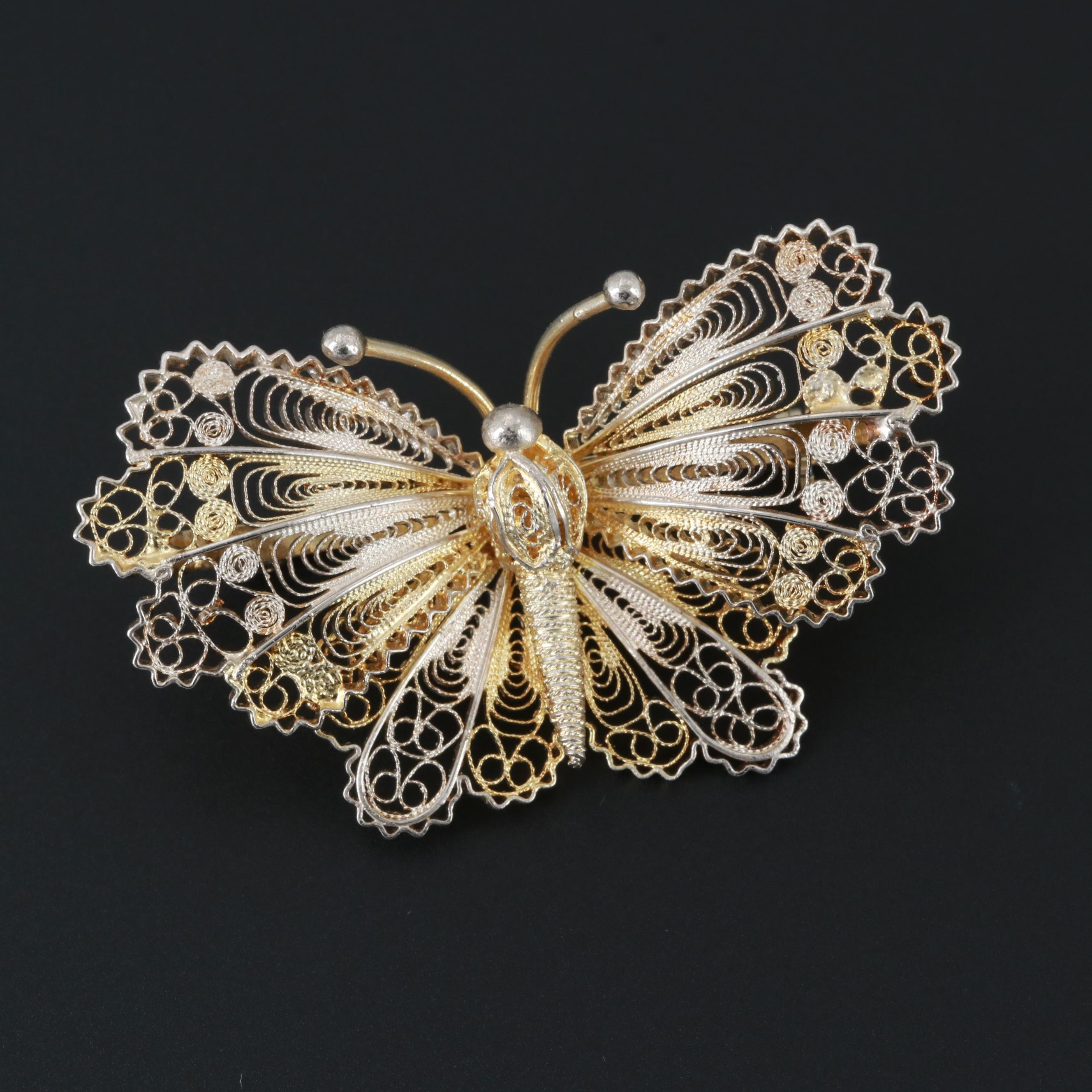 Sterling Silver Filigree Butterfly Brooch with Gold Wash Accents