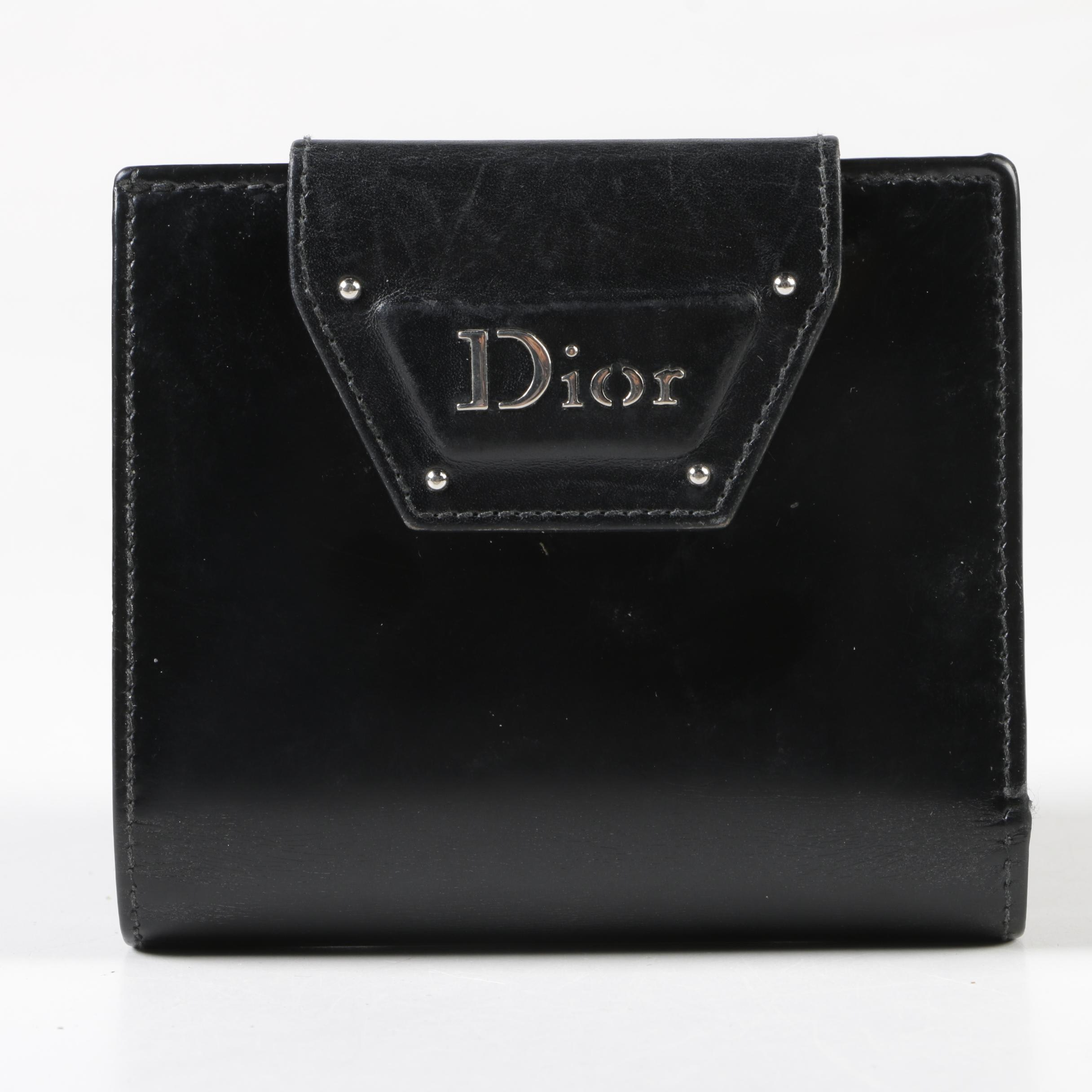 Christian Dior Paris Black Leather Bifold Wallet with Coin Pocket
