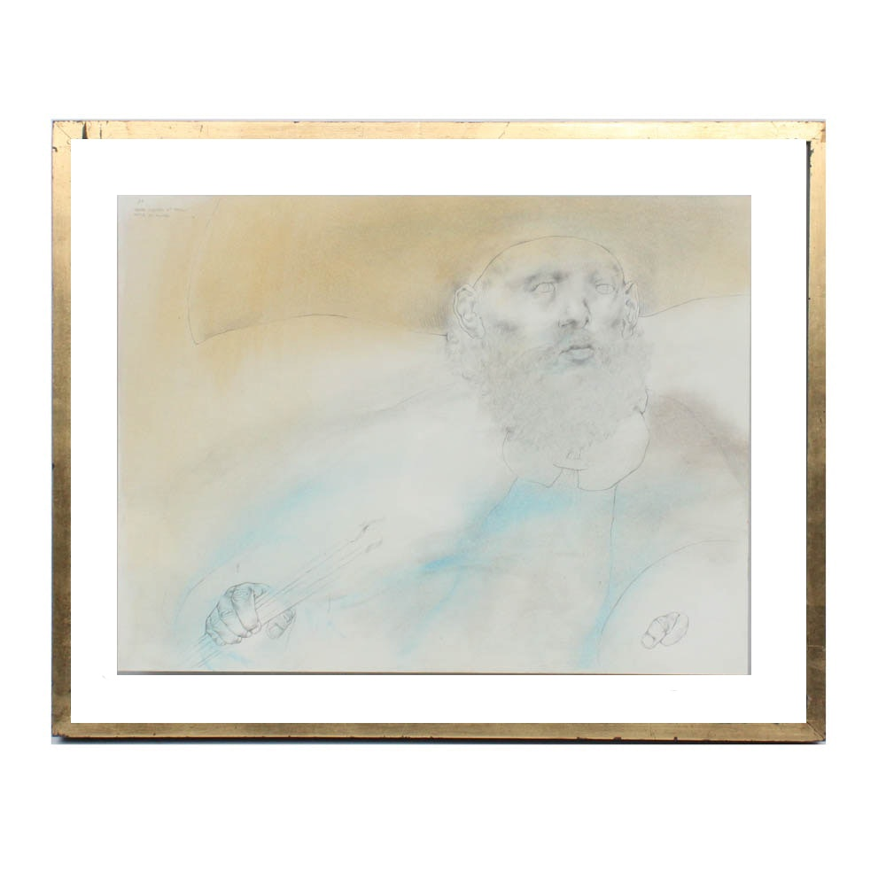 "Rafael Coronel Graphite and Pastel Drawing ""Serie El Pintor"""
