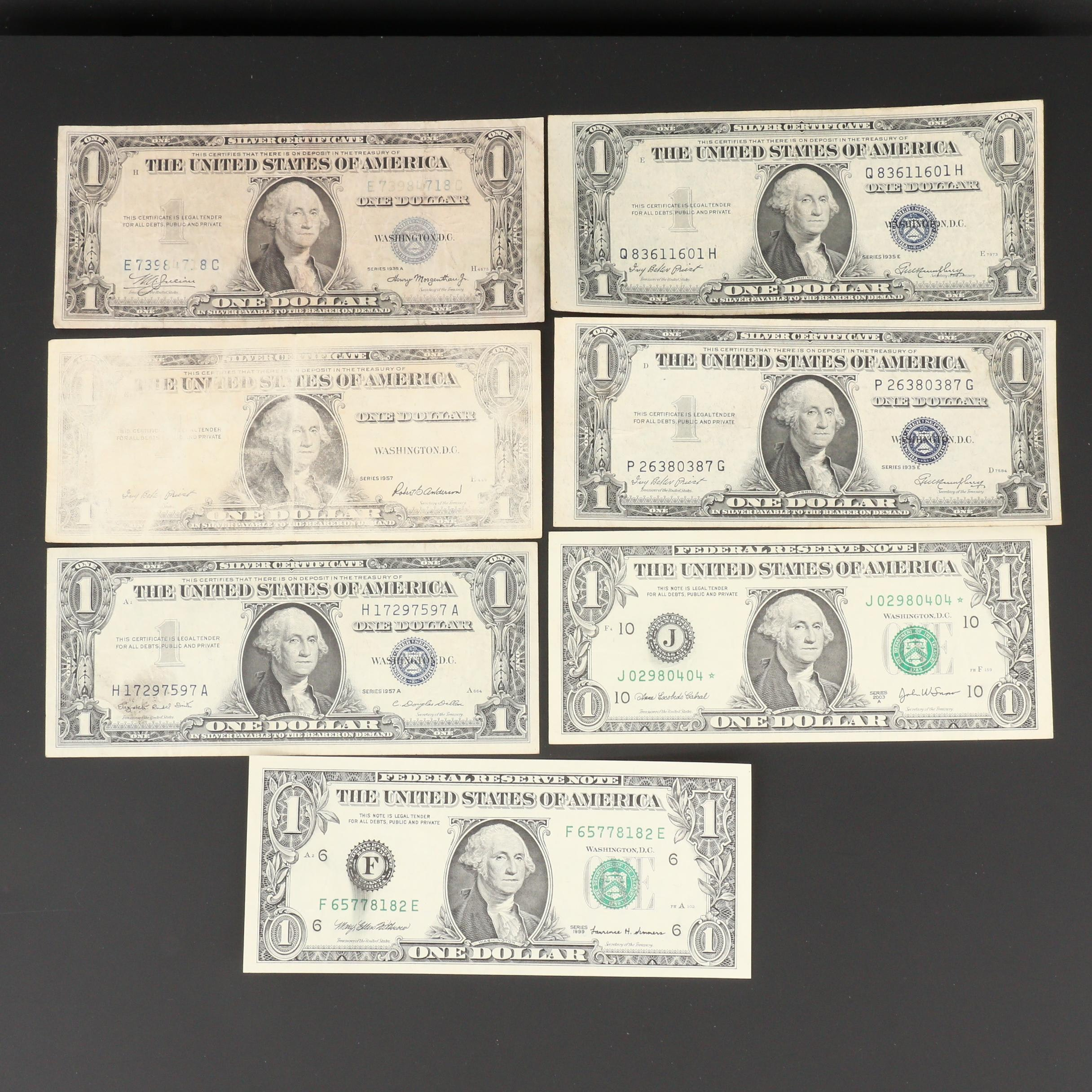 Group of Seven Error $1 Federal Reserve Notes and Silver Certificates