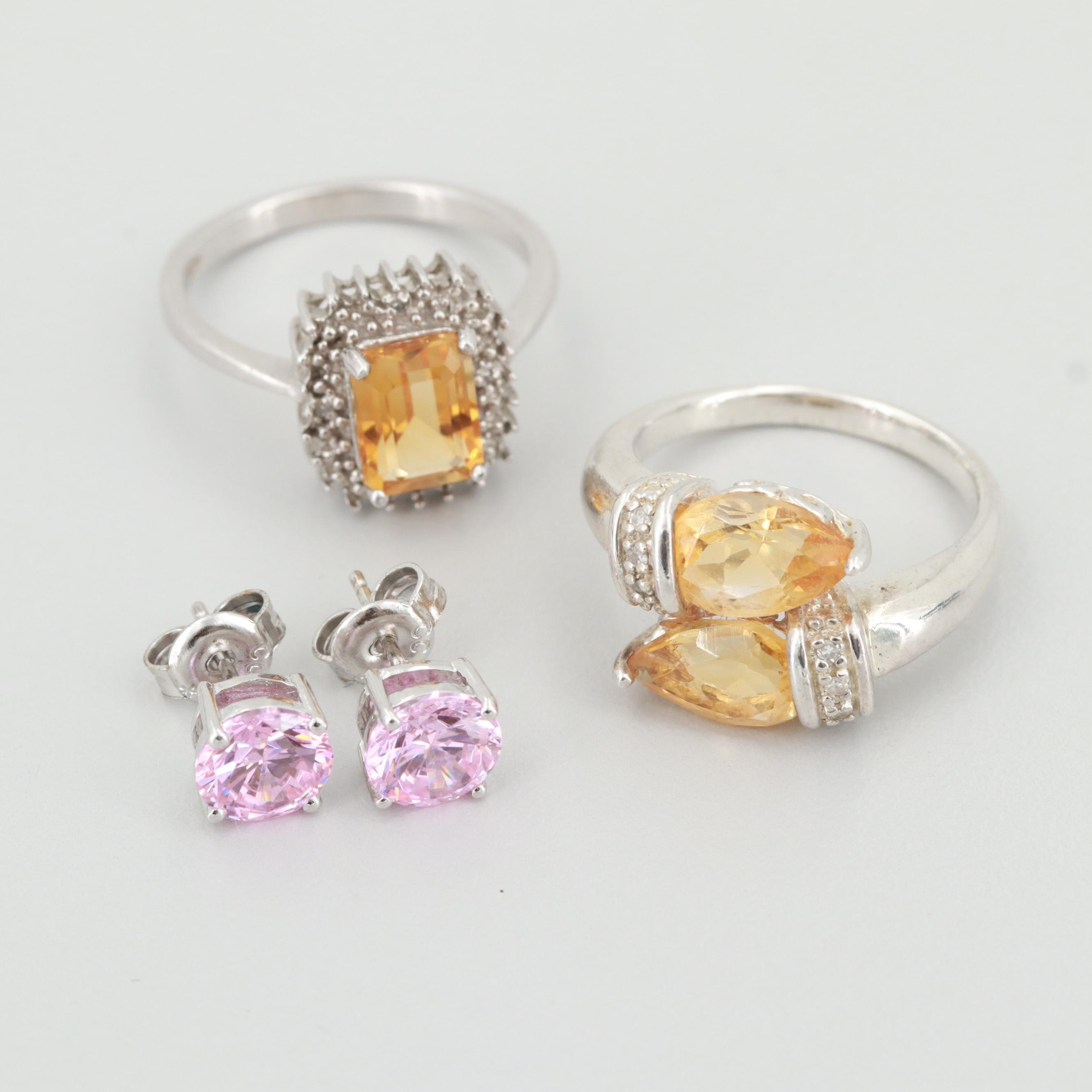 Sterling Silver Rings and Earrings with Diamonds, Citrine and Cubic Zirconia