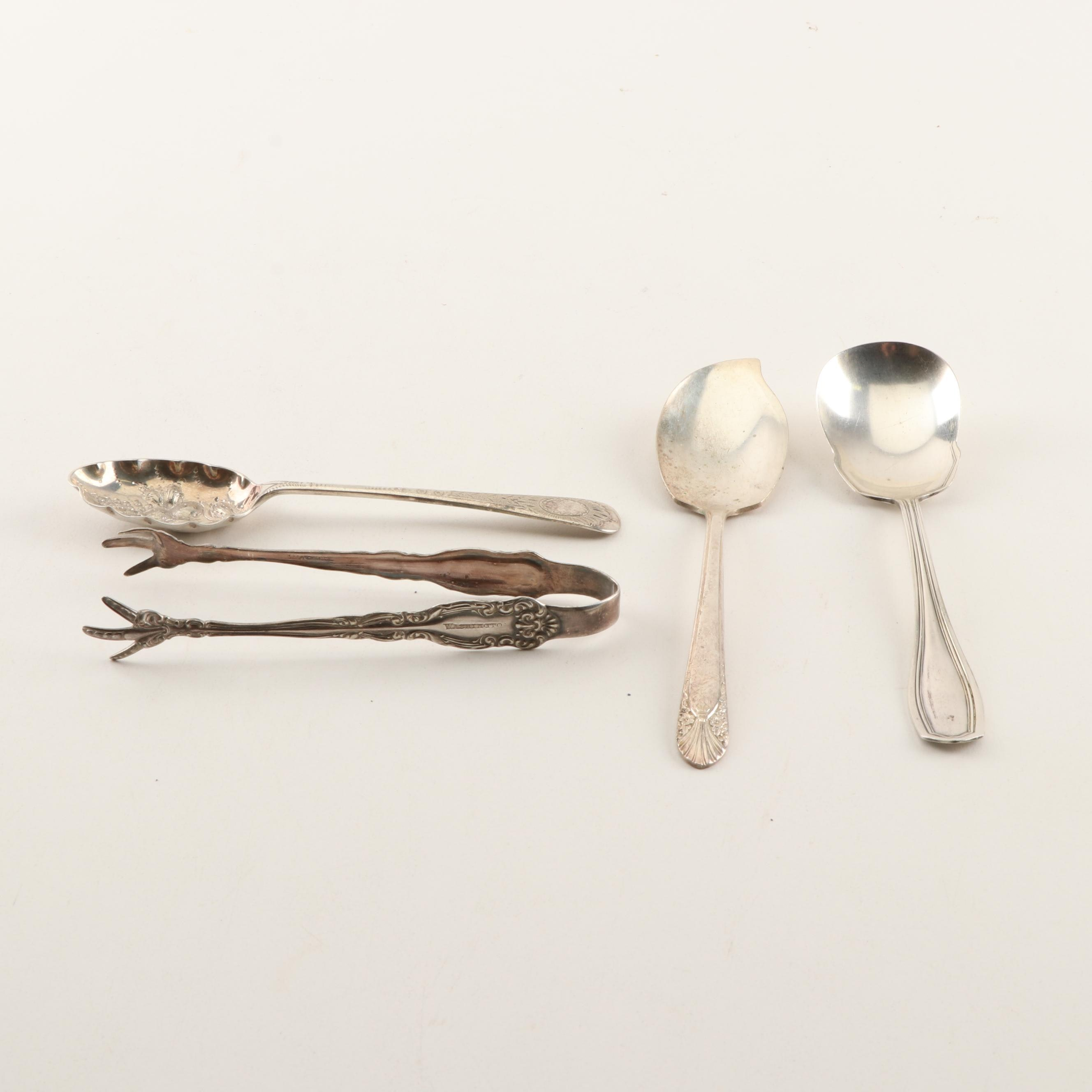 Silver Plated Sugar Tongs, Berry Spoon, Sugar Spoon, and Jelly Spoon
