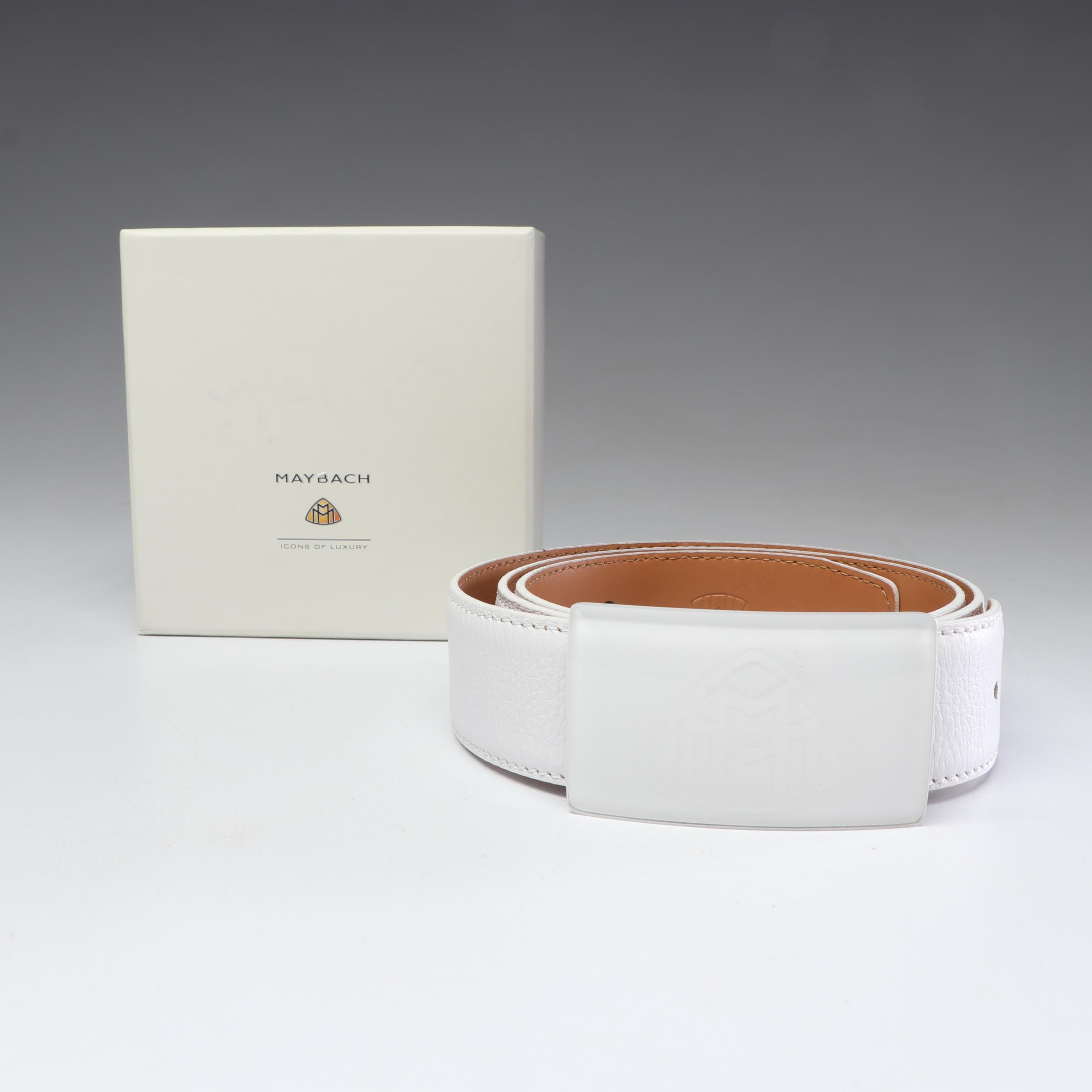 Maybach White Leather Belt, Italy