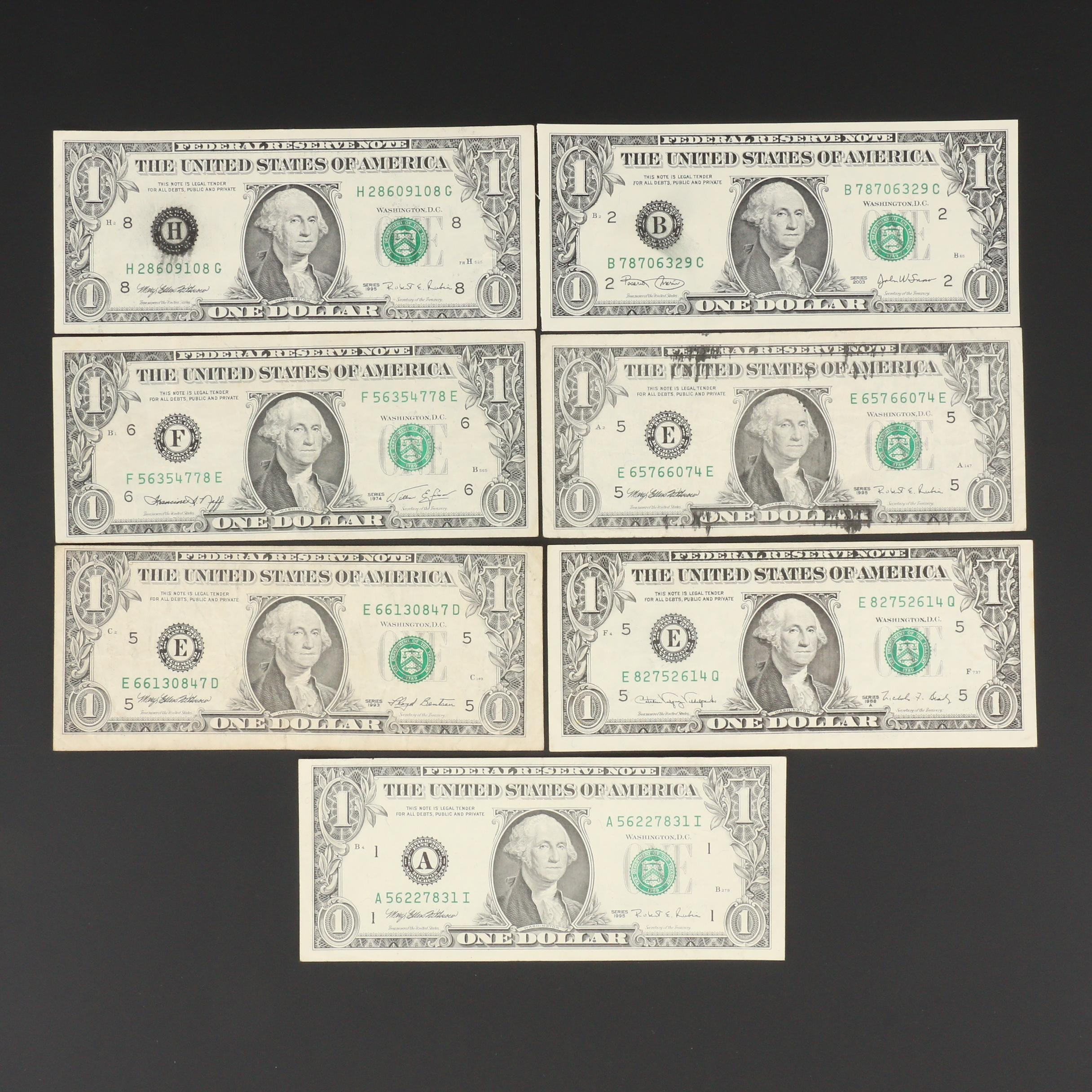 Group of Seven Error $1 Federal Reserve Notes