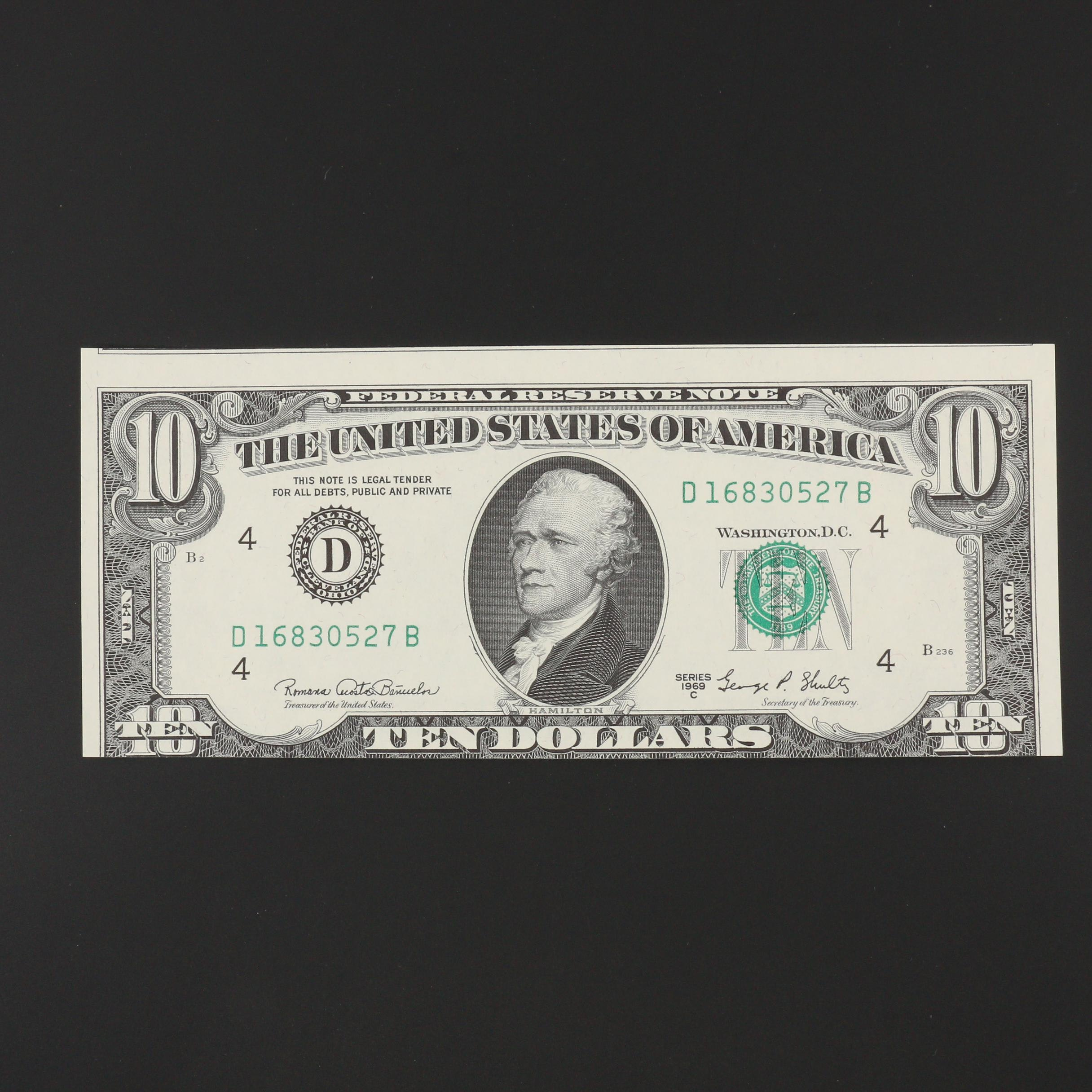 Series of 1969C $10 Mis-Cut Error Federal Reserve Note
