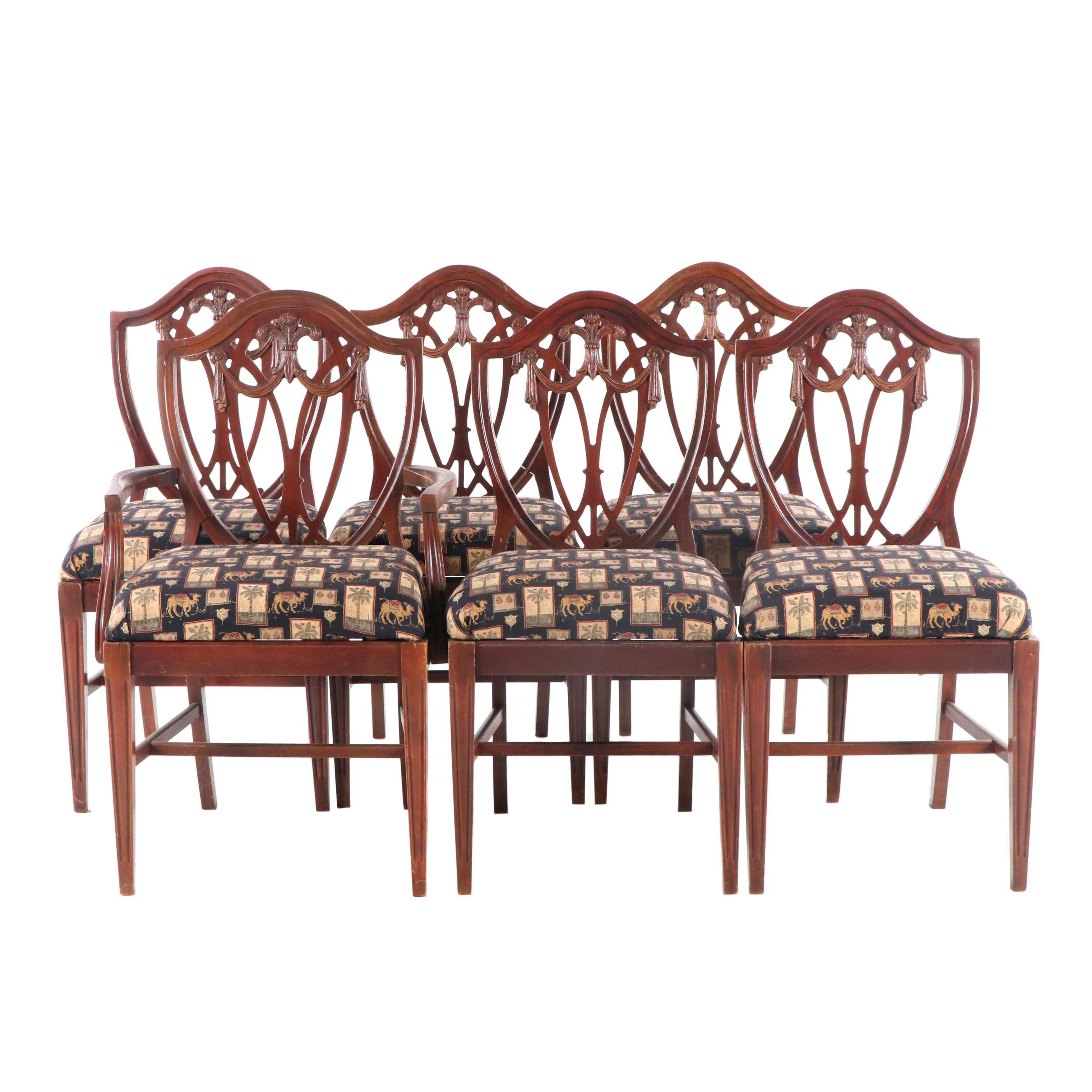 Hepplewhite Style Mahogany Dining Chairs, Mid 20th Century