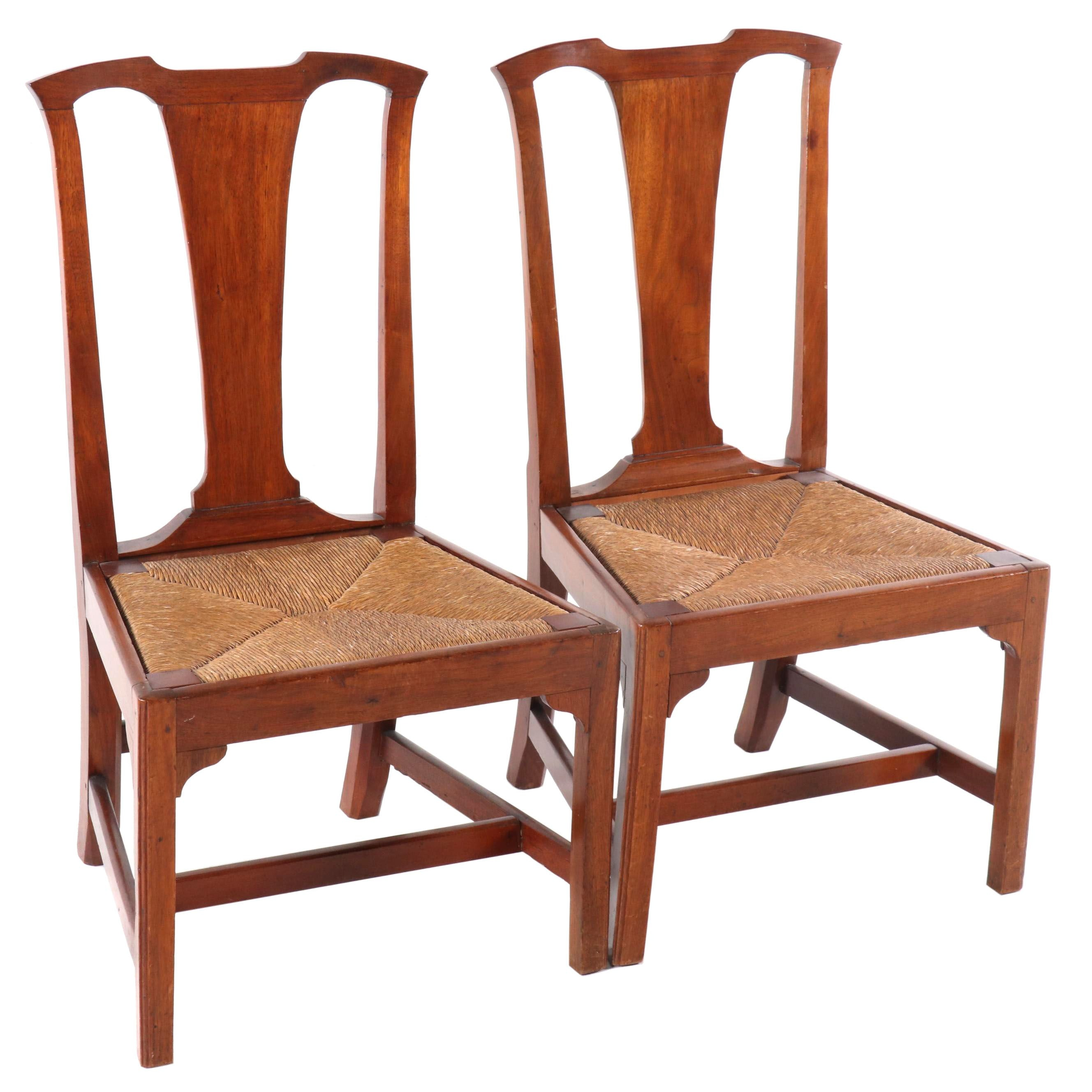Vintage Side Chairs with Rush Seats