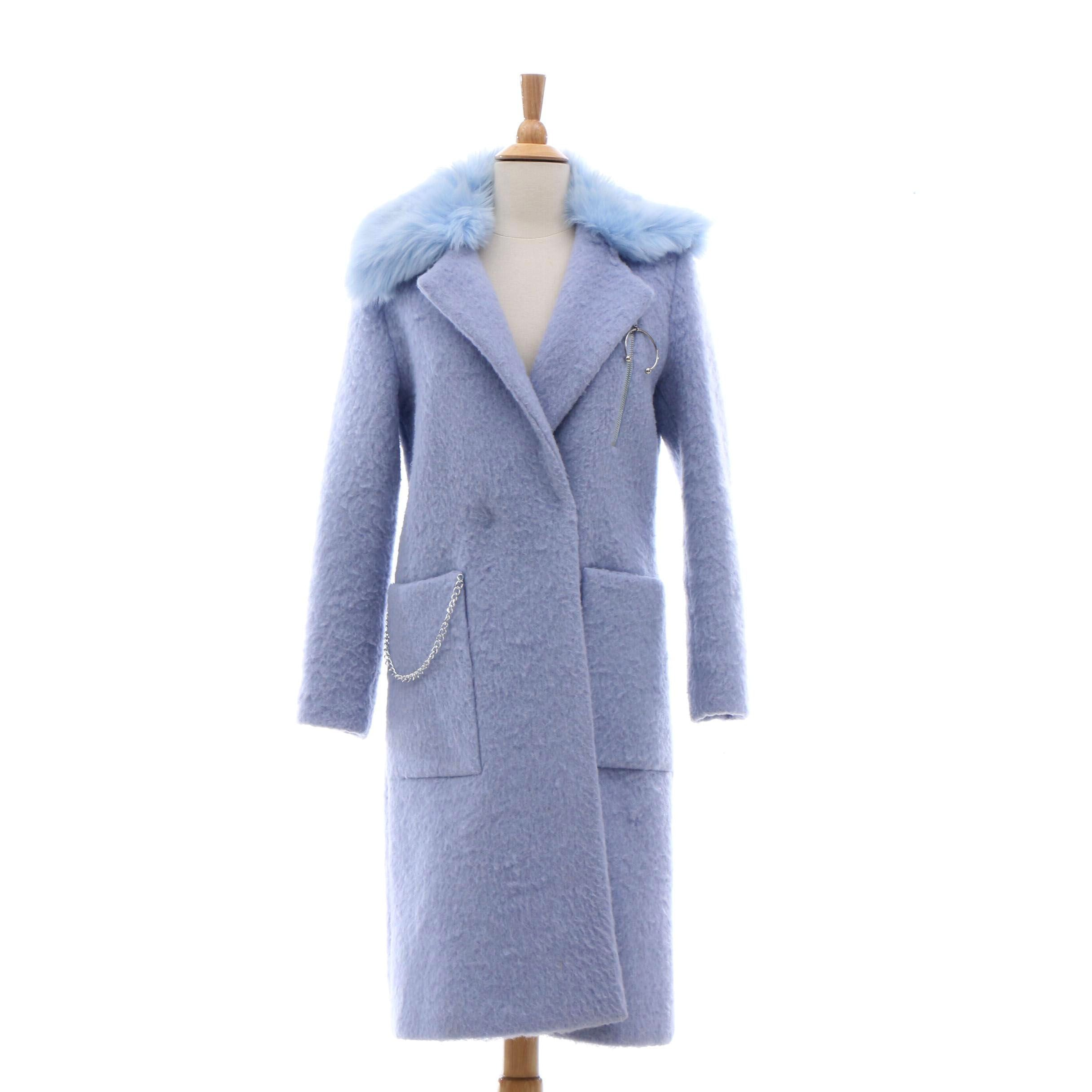 Kim Shui for Urban Outfitters Powder Blue Coat with Faux Fur Collar