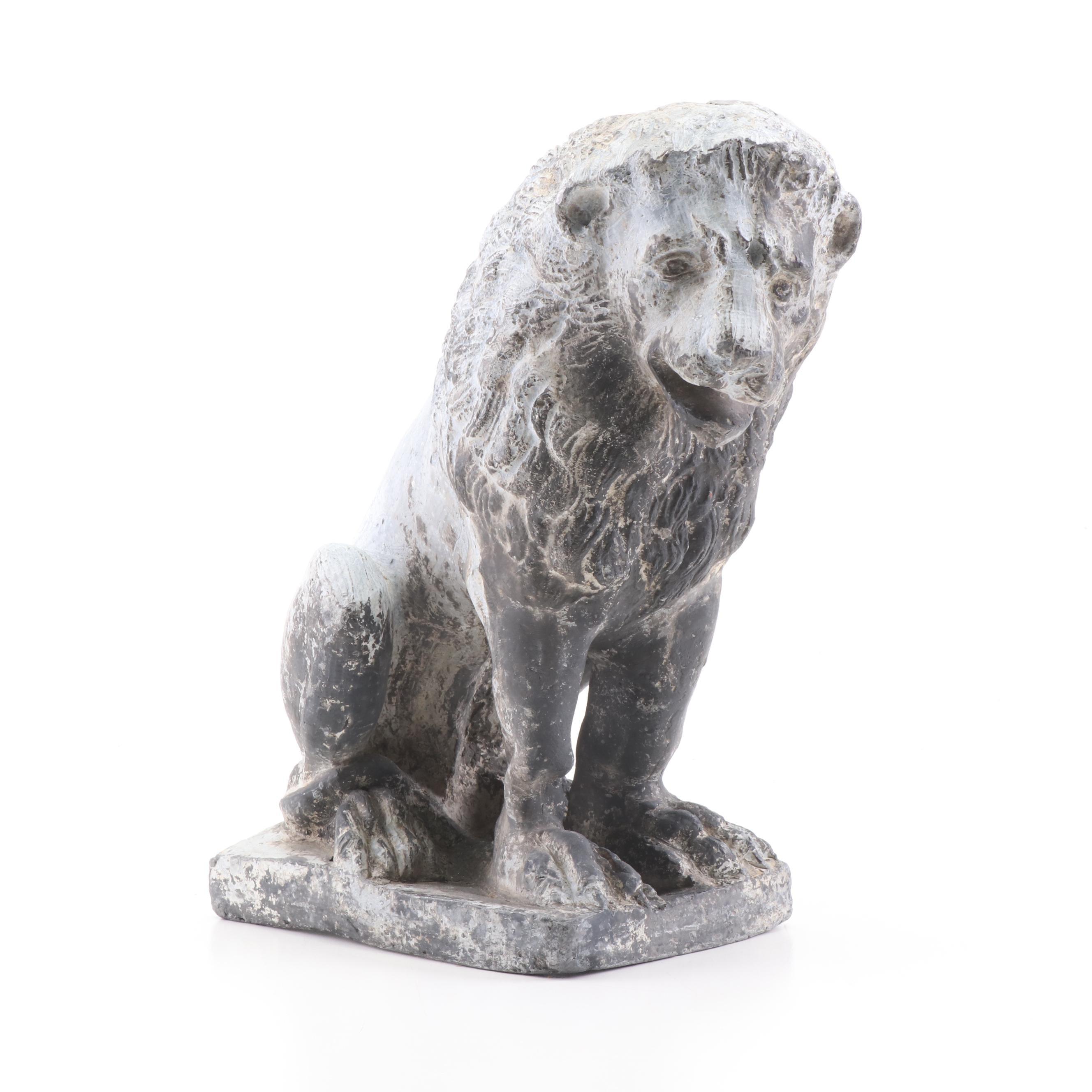 Cast Mixed Metal Lion Garden Sculpture