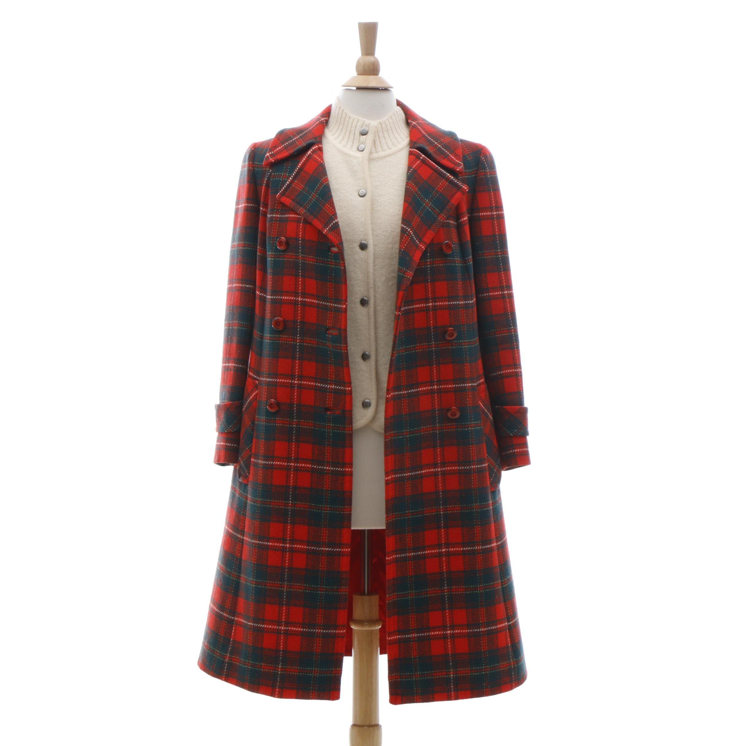 Pendleton Plaid Wool Coat and Wool Vest