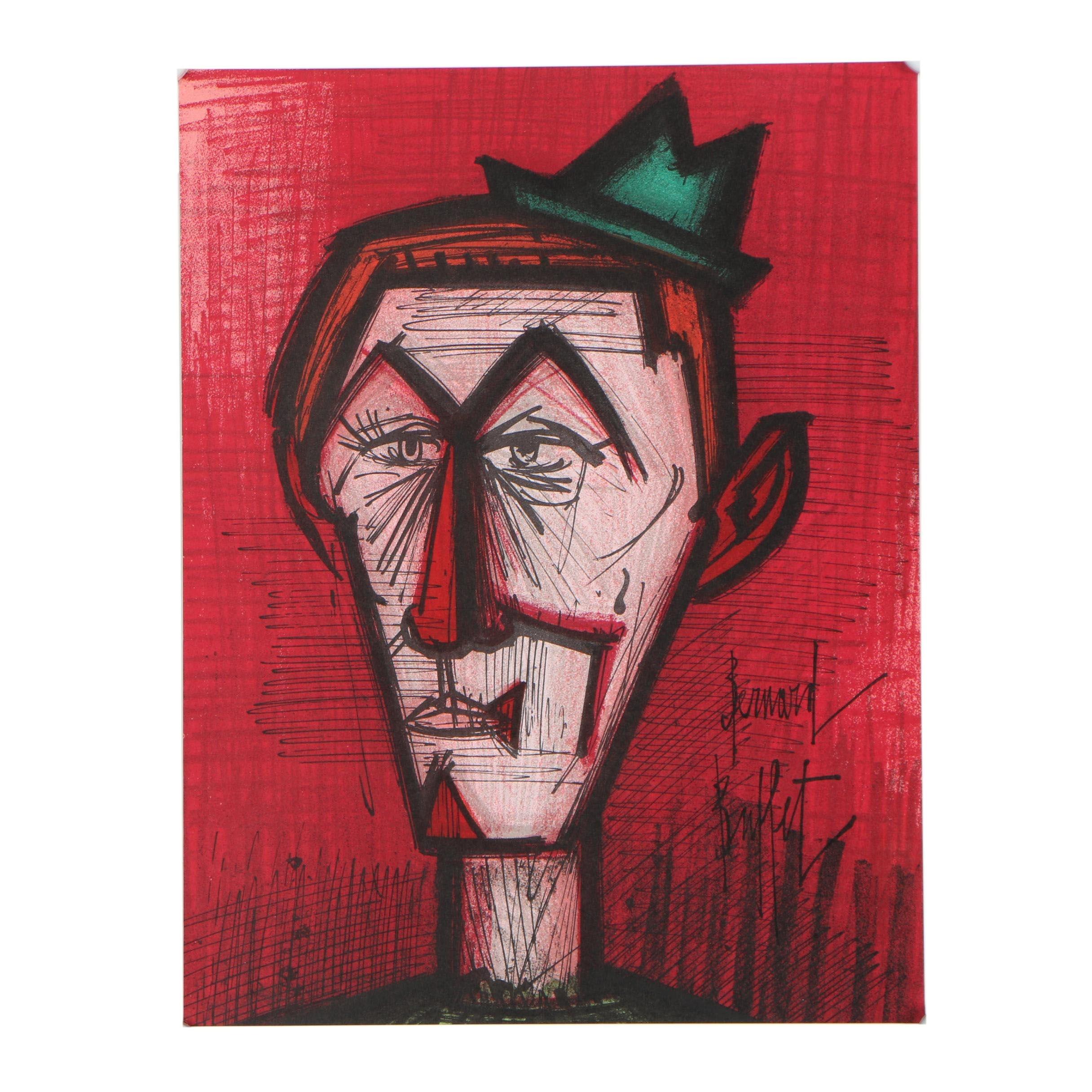 """Bernard Buffet Color Lithograph """"Le Clown Rouge"""""""