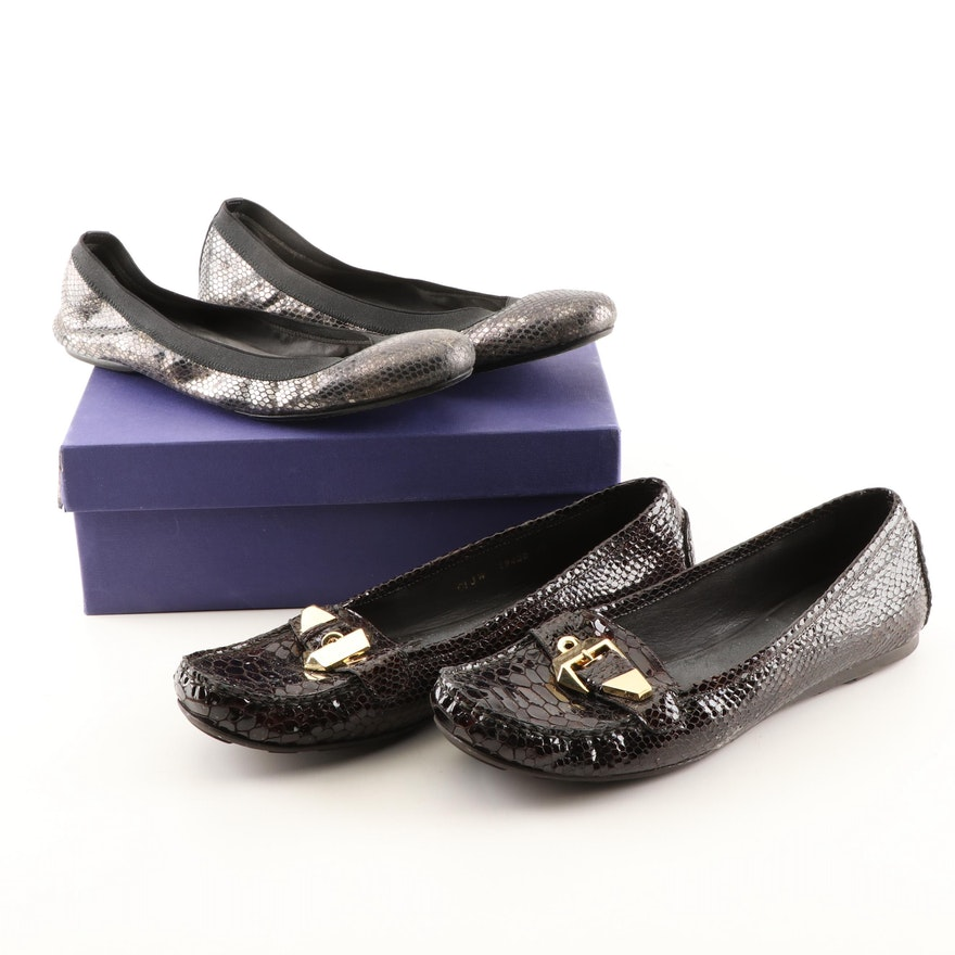 382480f2d0a Stuart Weitzman Embossed Leather Ballet Flats and Loafers   EBTH