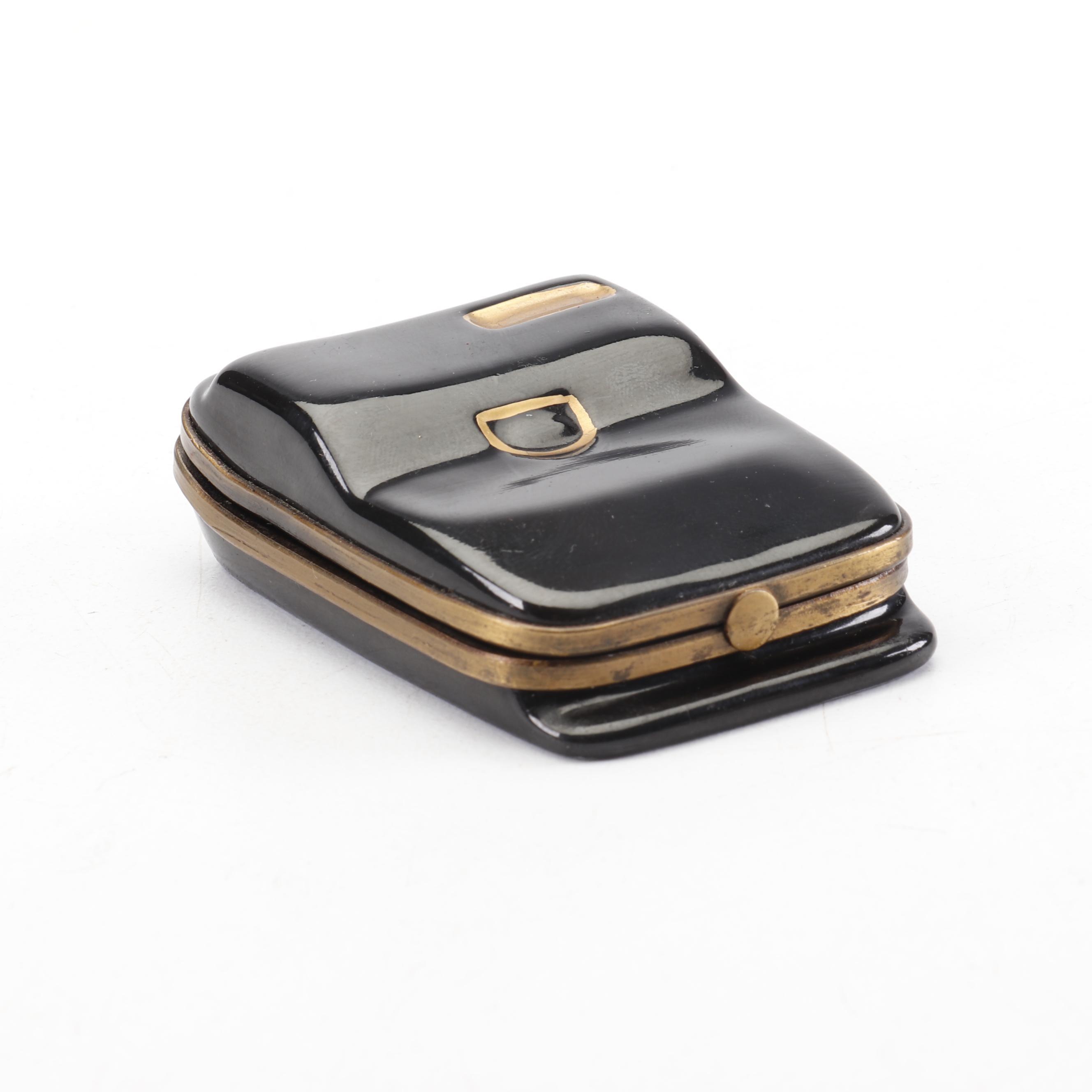 Eximious Hand Painted Limoges Porcelain Flip Phone Trinket Box
