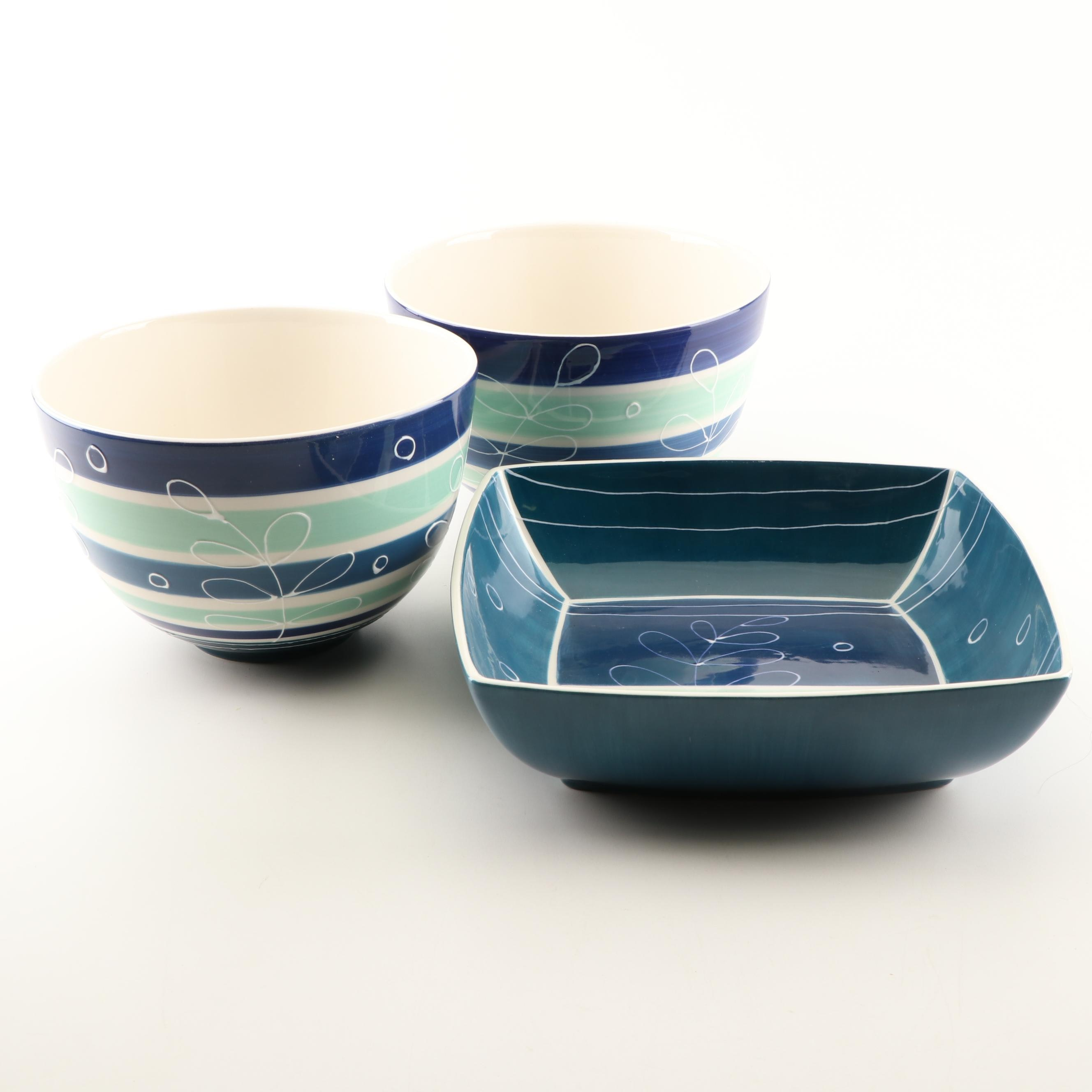 Contemporary Hand-Painted Portuguese Serveware