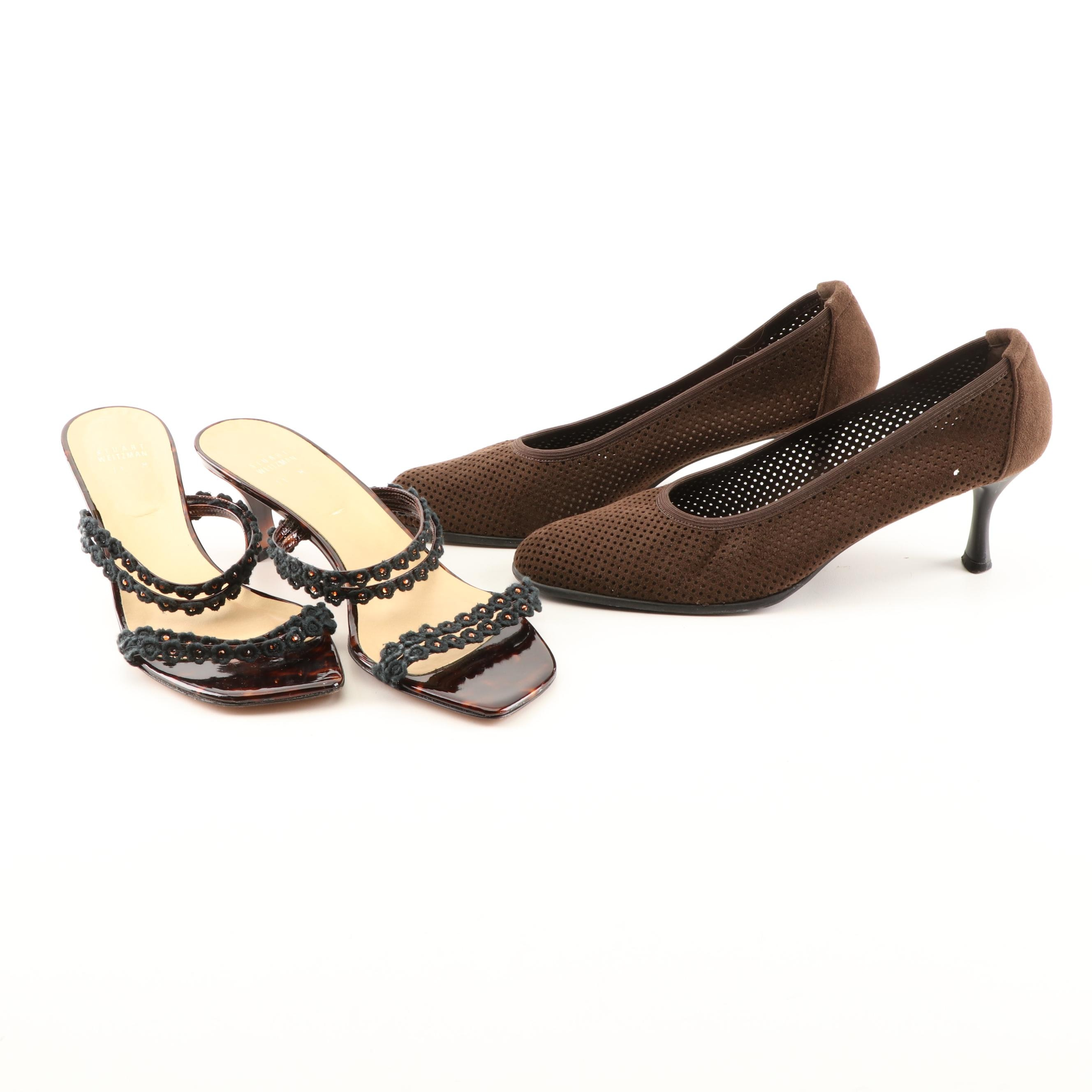 Stuart Weitzman Brown Suede Pumps and Patent Leather Sandals