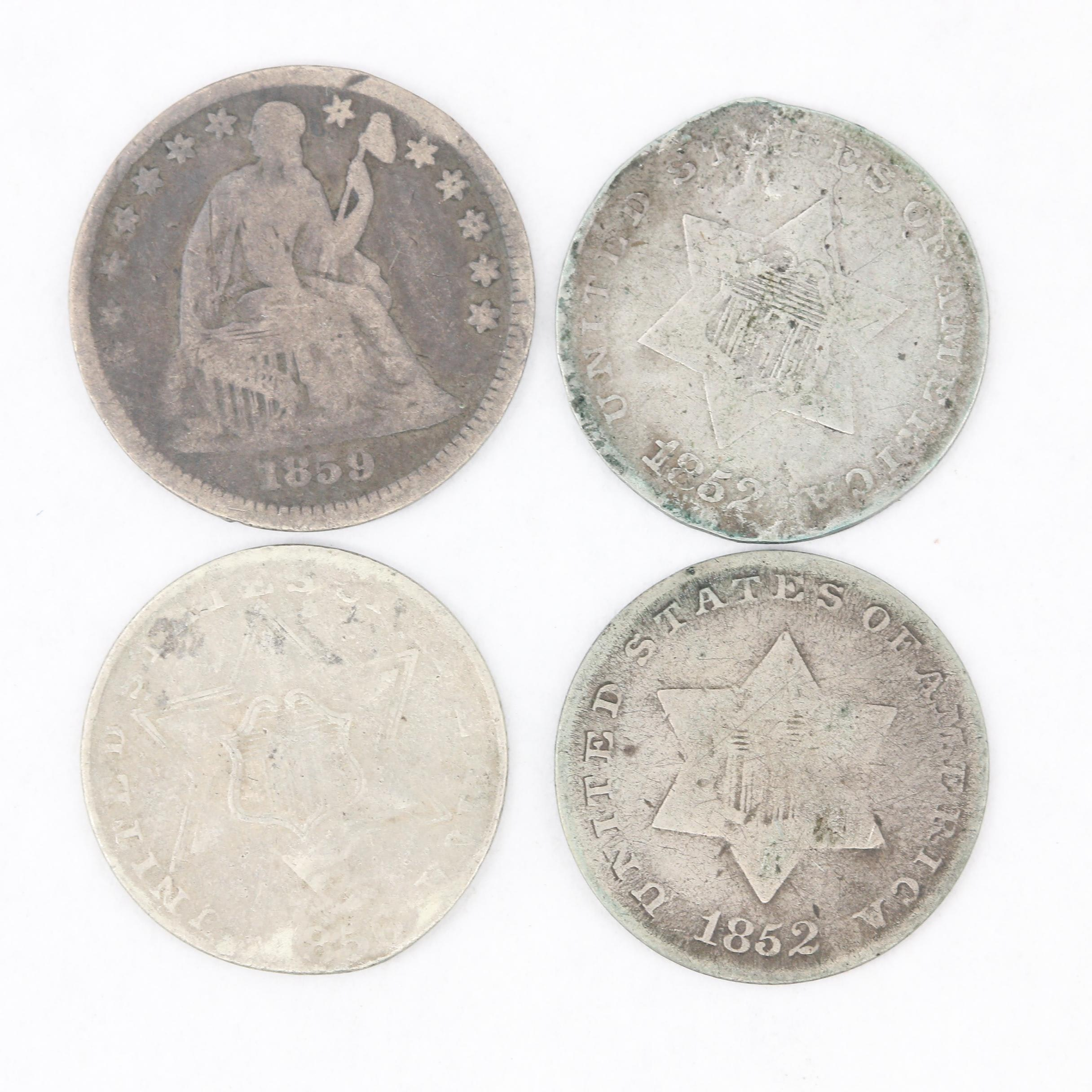"""Three Silver 3-Cent """"Trime"""" Coins and a Liberty Seated Silver Half Dime"""