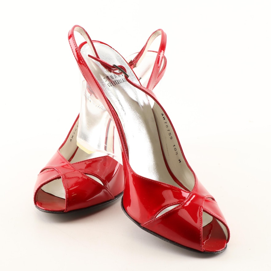 94742acb1161 Stuart Weitzman Red Patent Leather Acrylic Wedges   EBTH