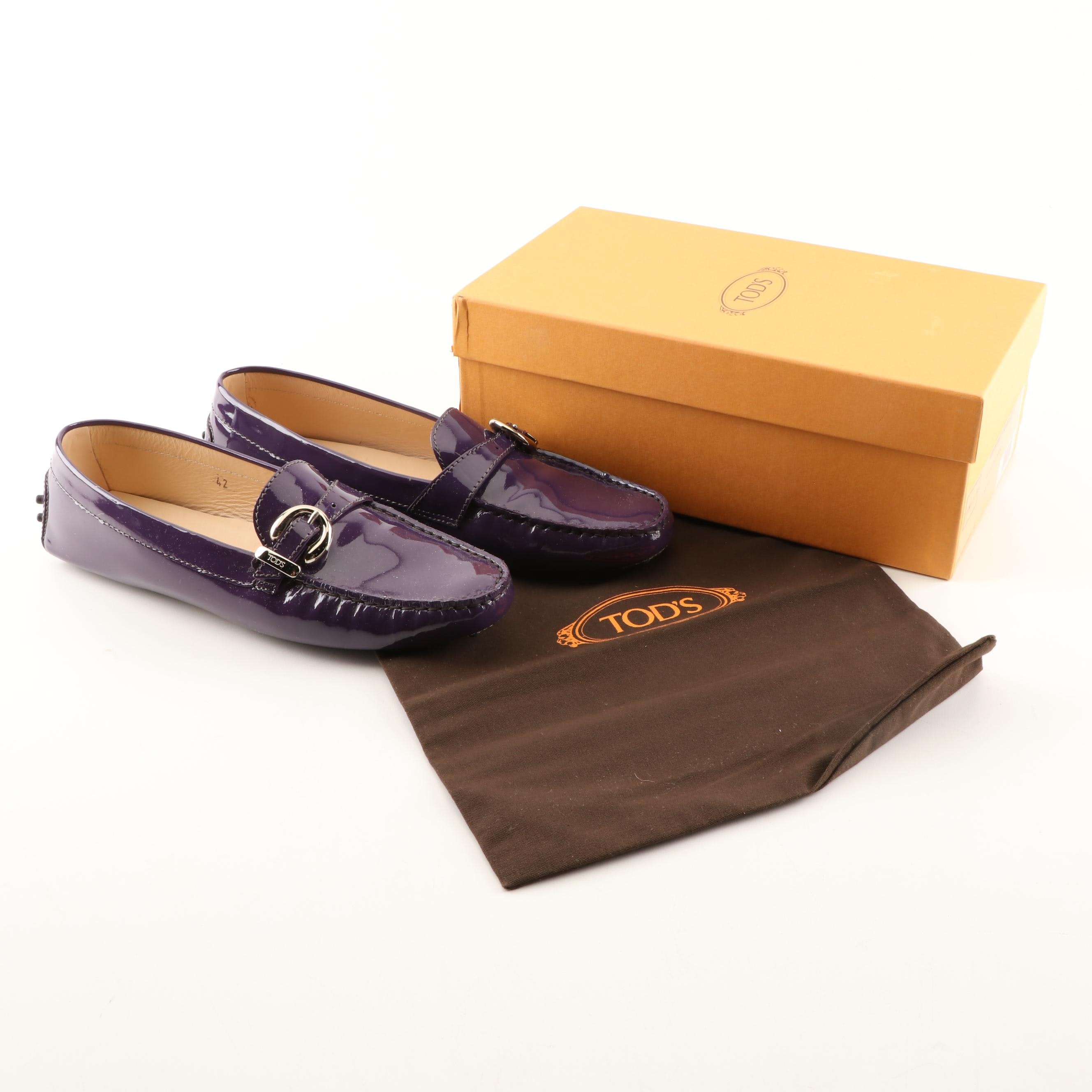 Tod's Purple Patent Leather Driving Shoes