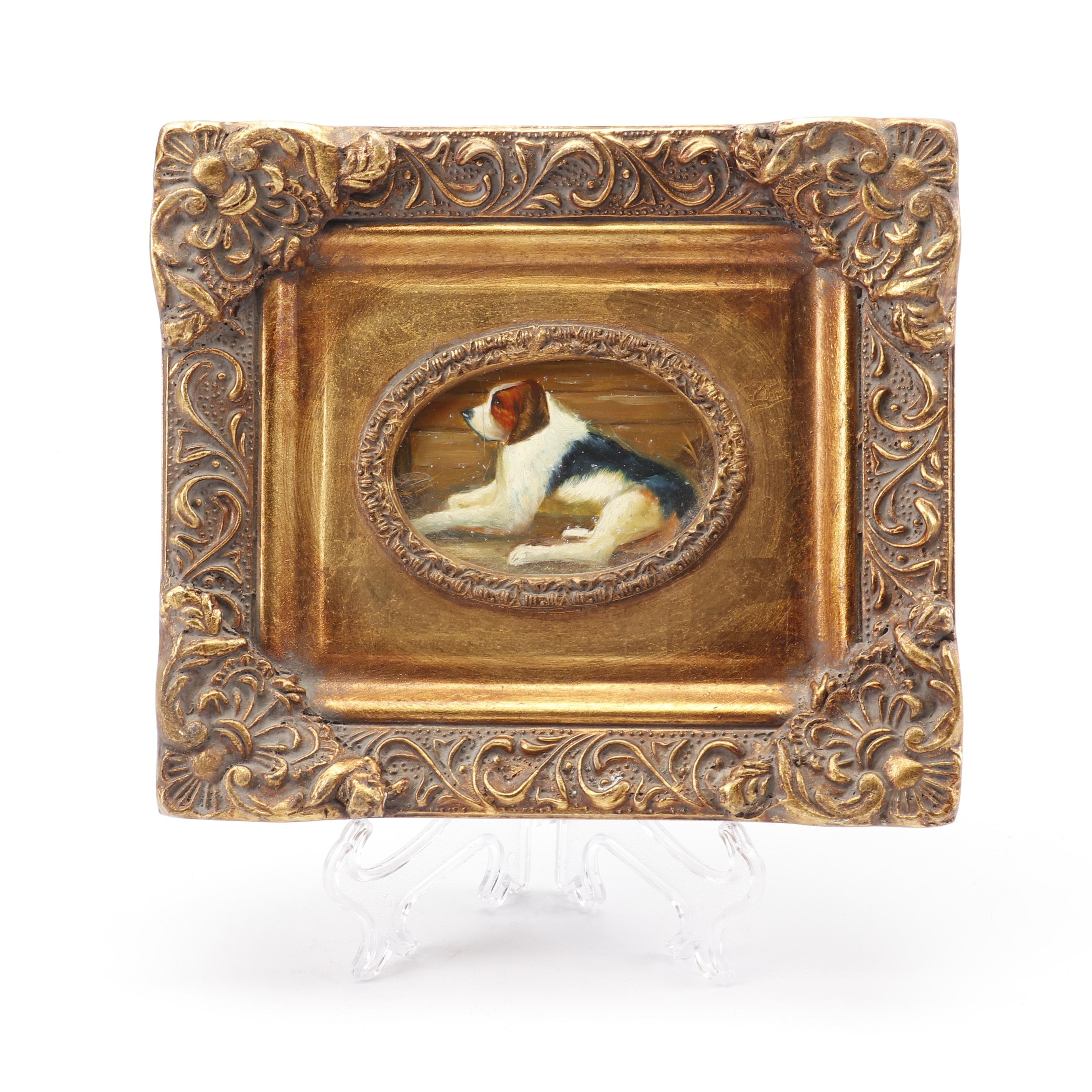 19th Century Dog Portrait Oil Painting