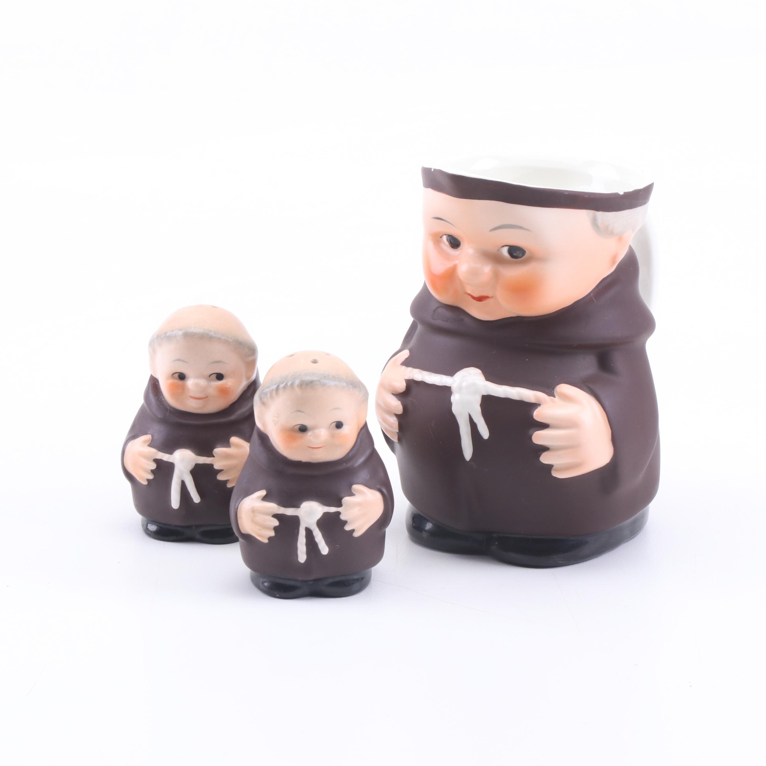 "Goebel ""Friar Tuck"" Creamer and Salt and Pepper Shakers, Made in Western Germany"