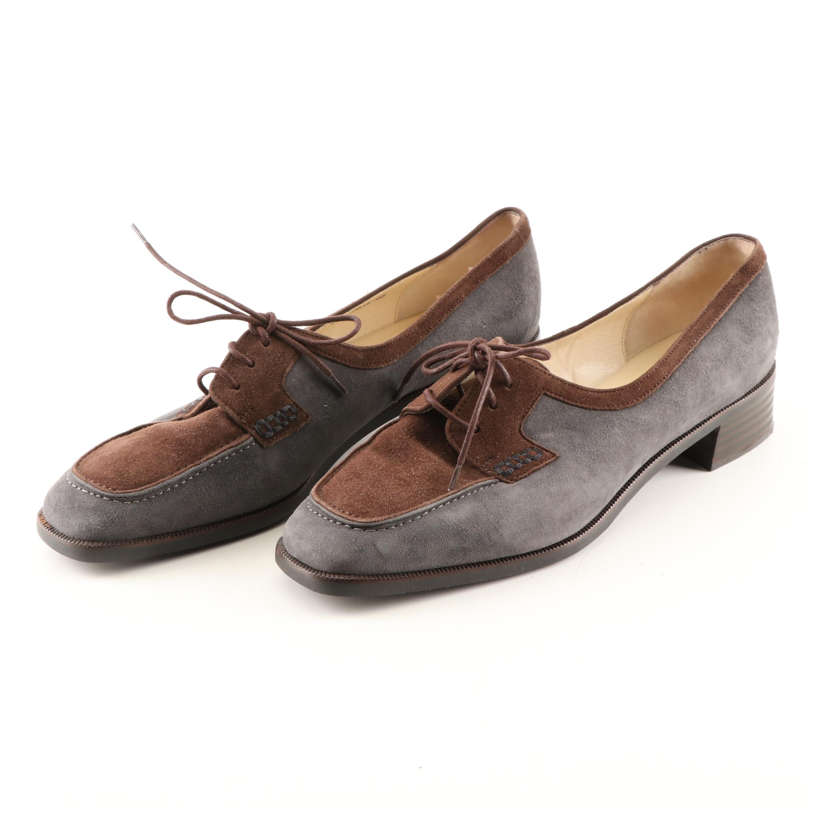 Bally Slate and Brown Suede Oxfords