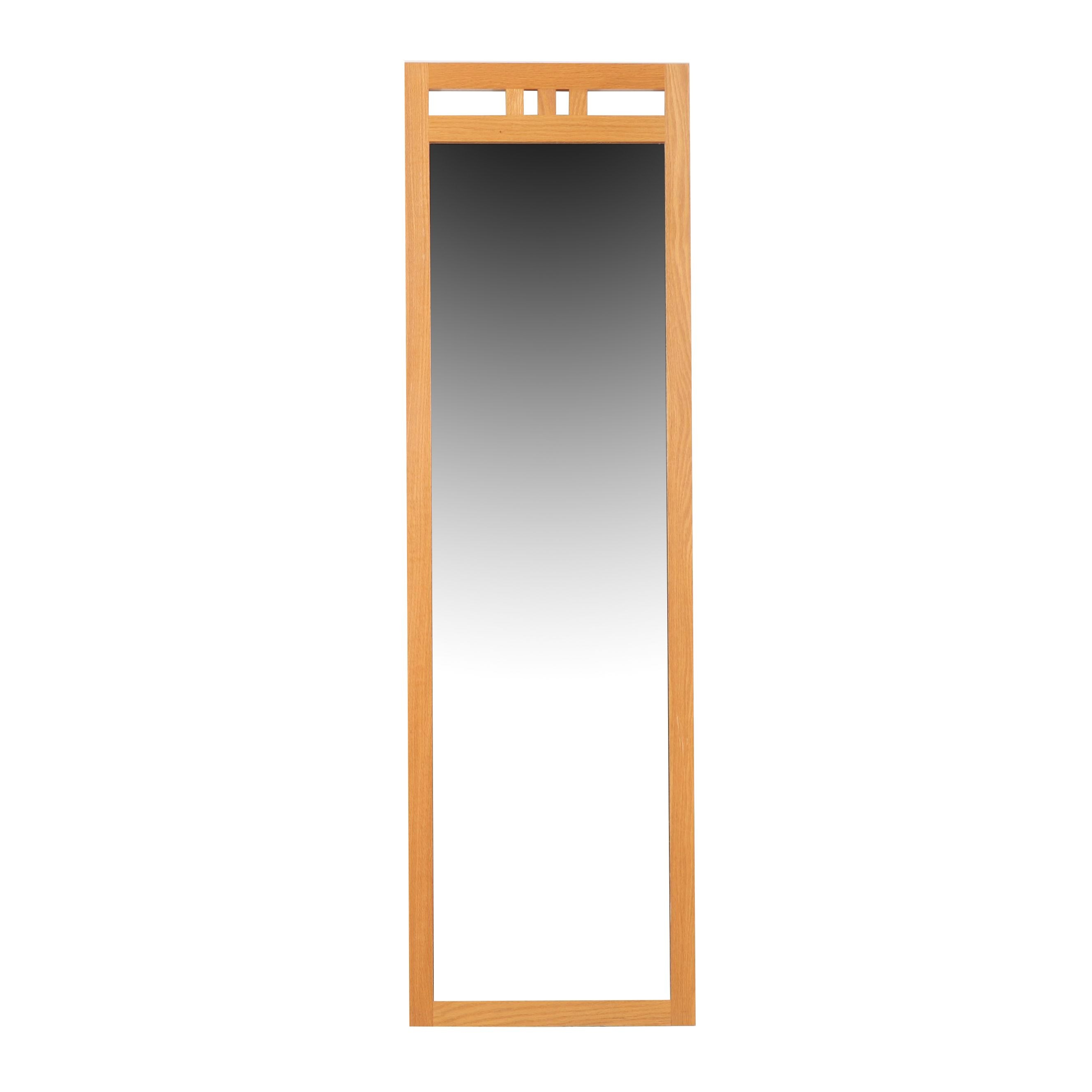 Danish Modern Style Oak Floor Mirror, Contemporary