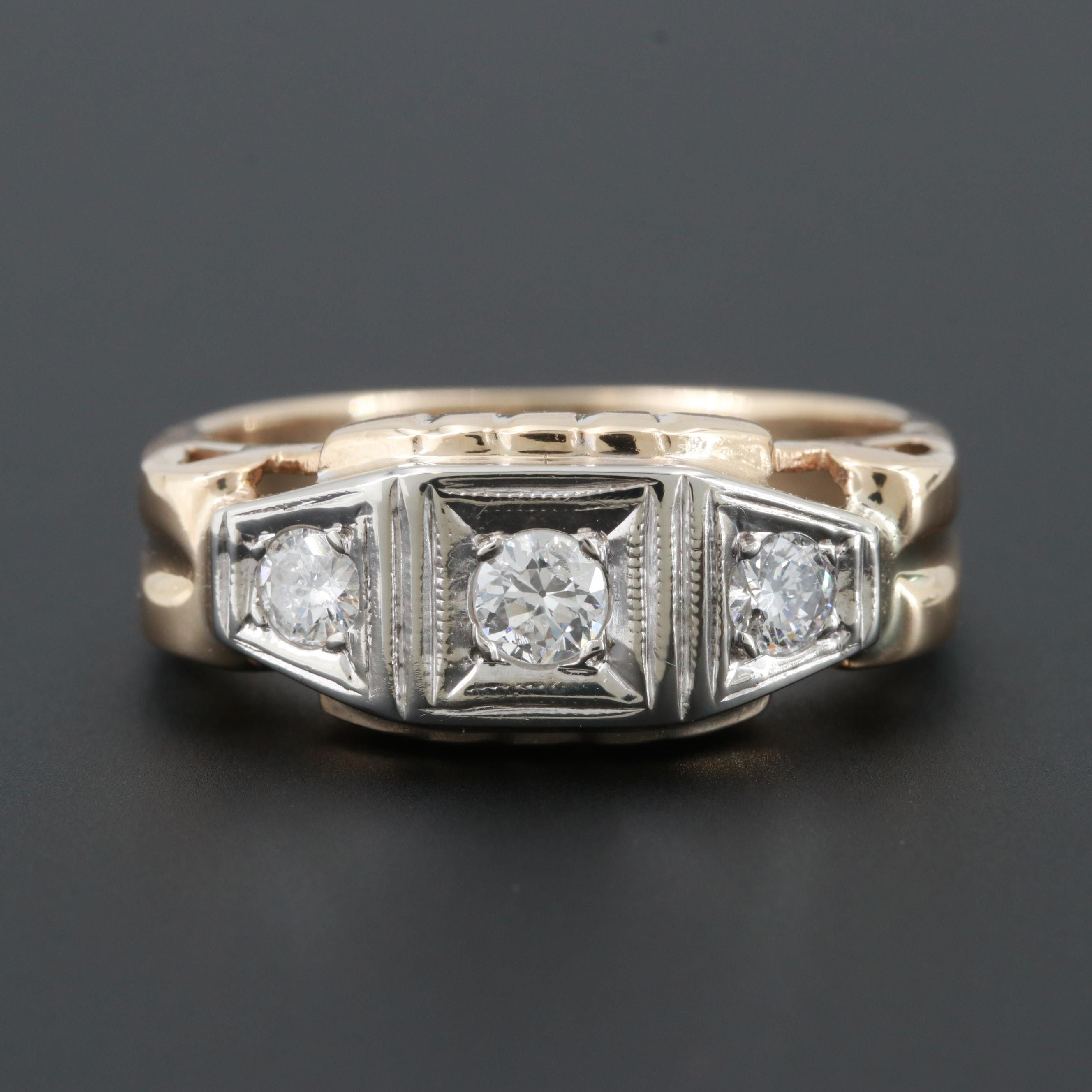 10K Yellow Gold Diamond Ring with 10K White Gold Accent