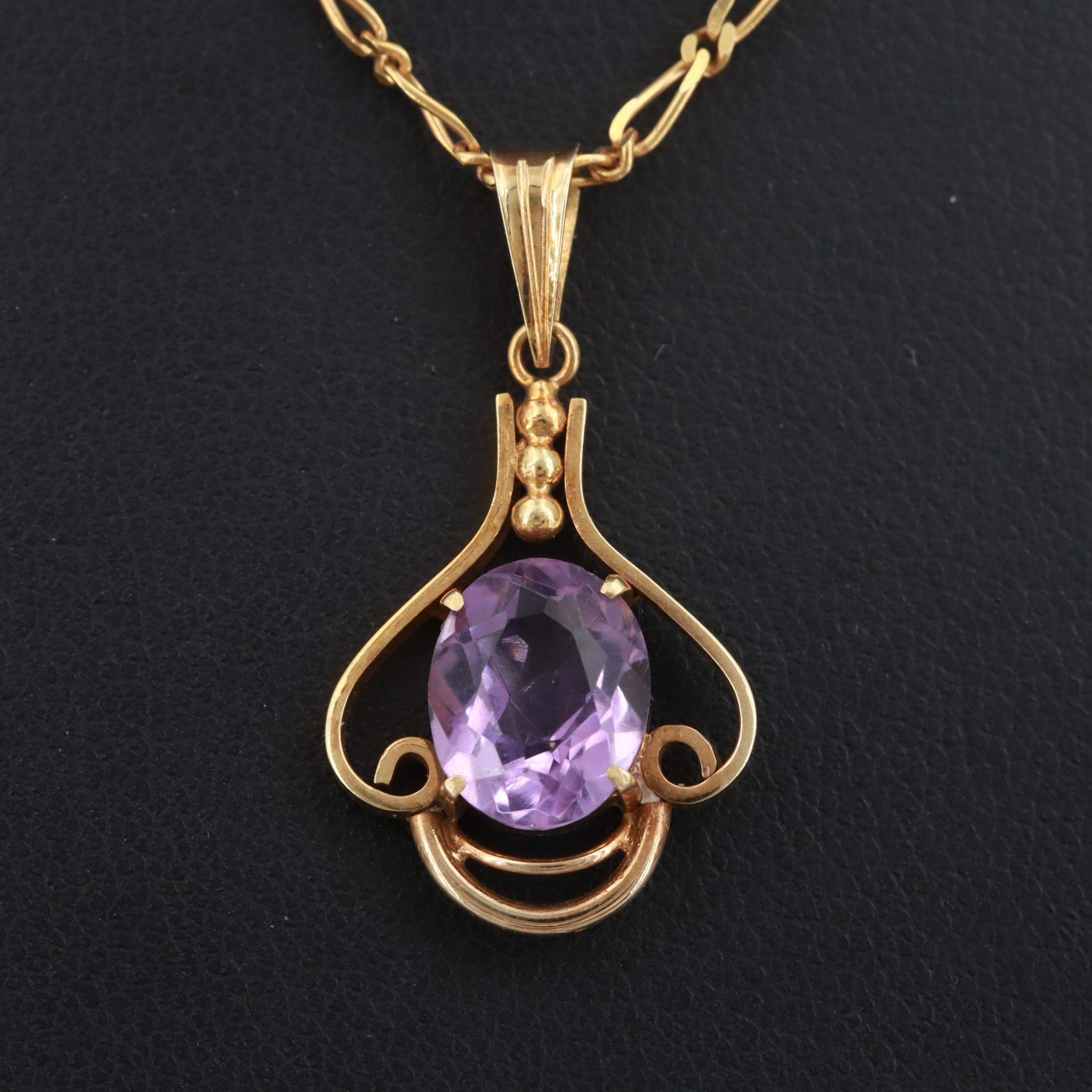 14K Yellow Gold Amethyst Pendant on 18K Yellow Gold Chain Necklace