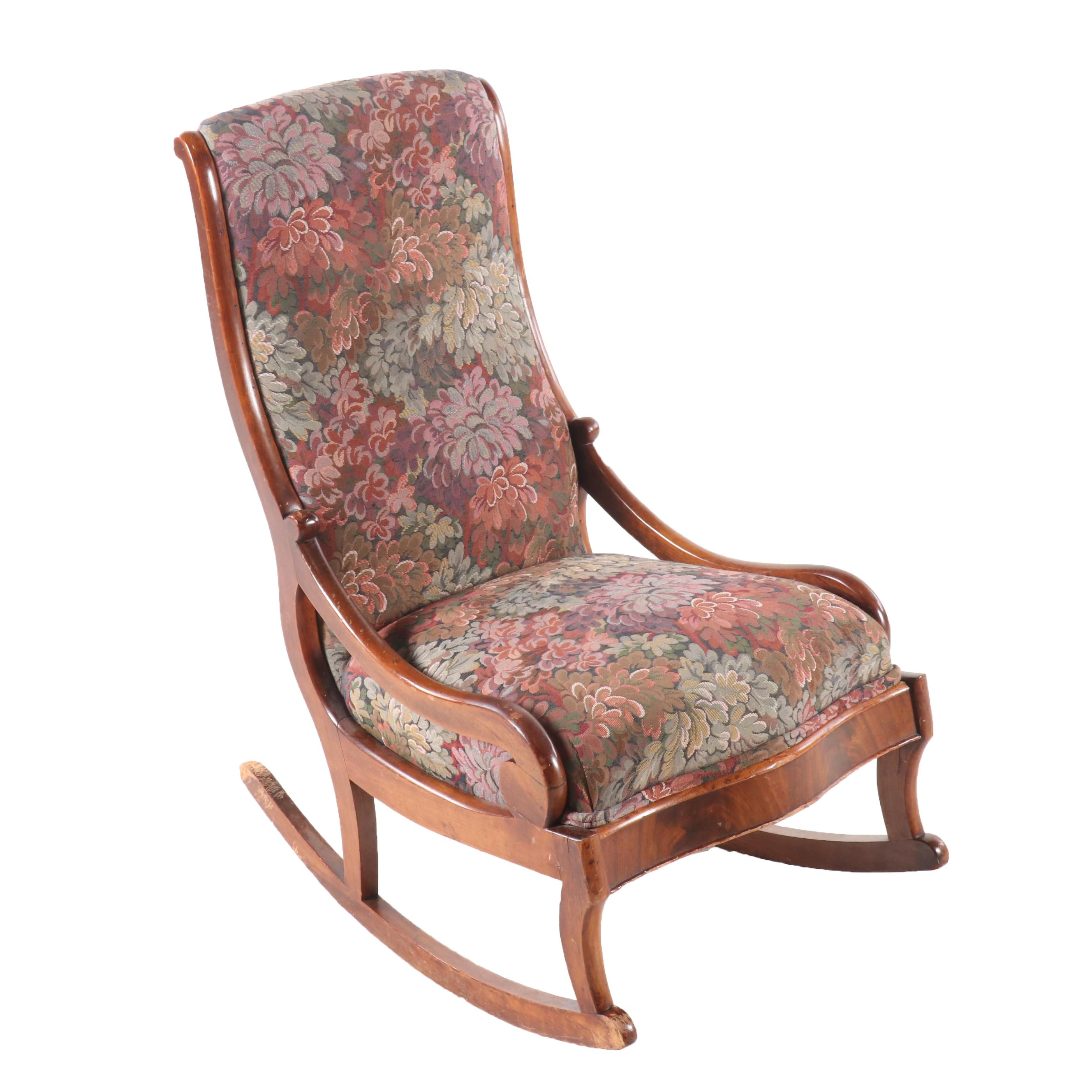 Vintage Tapestry Wood Rocking Chair
