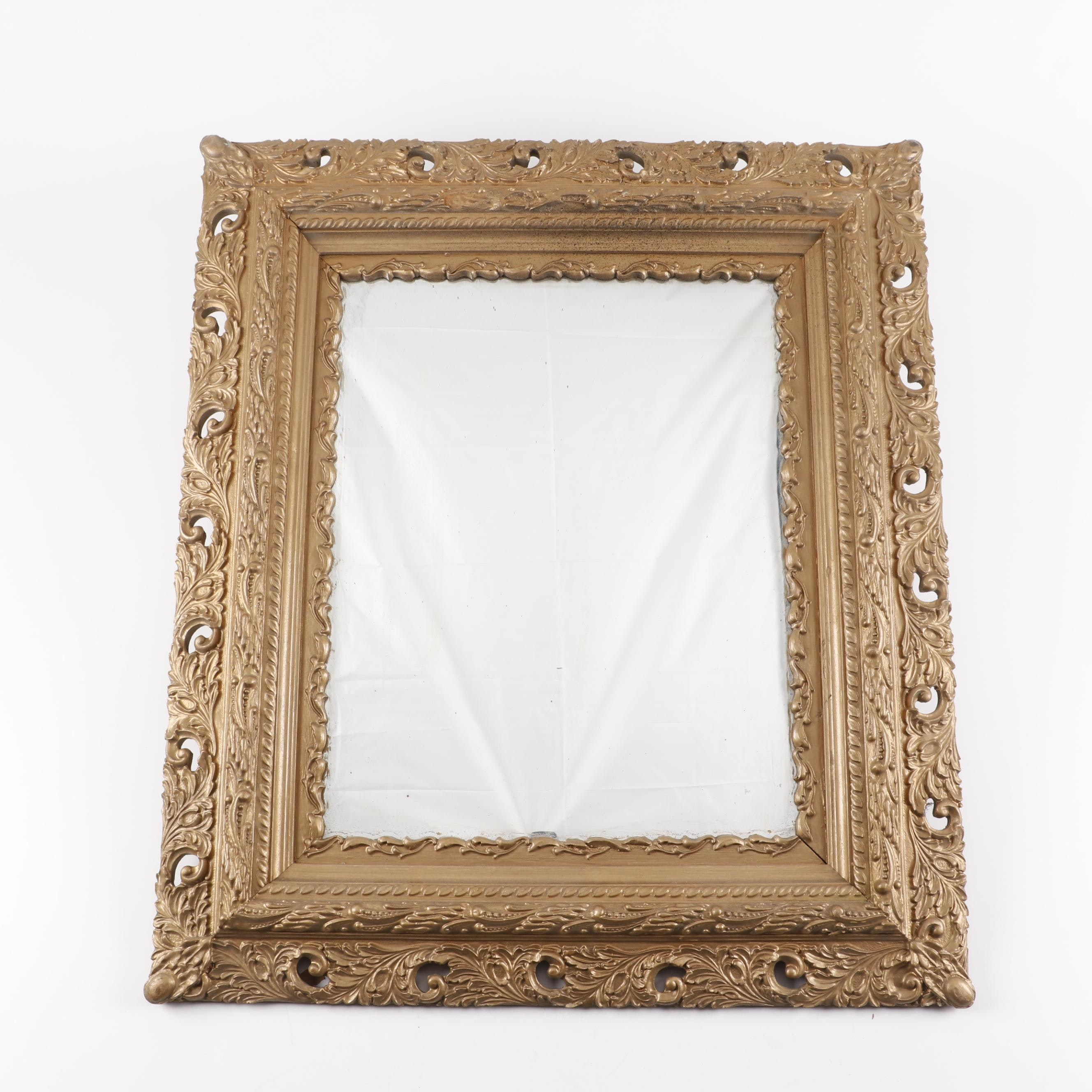 Gold Painted Gesso and Wood Framed Wall Mirror, Early 20th Century