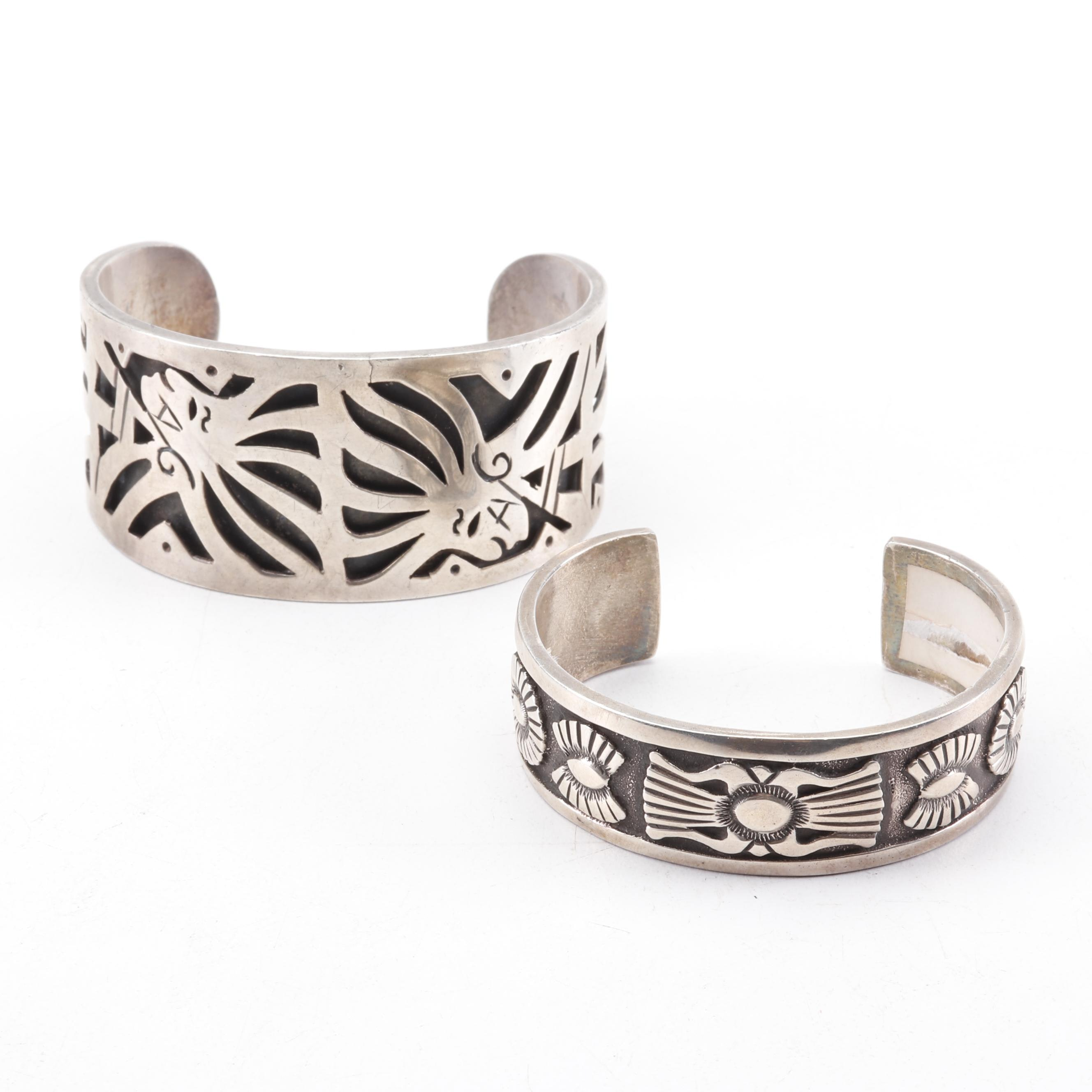 Rick Martinez Sterling Silver Floral Cuff with Sterling Relief Cuff