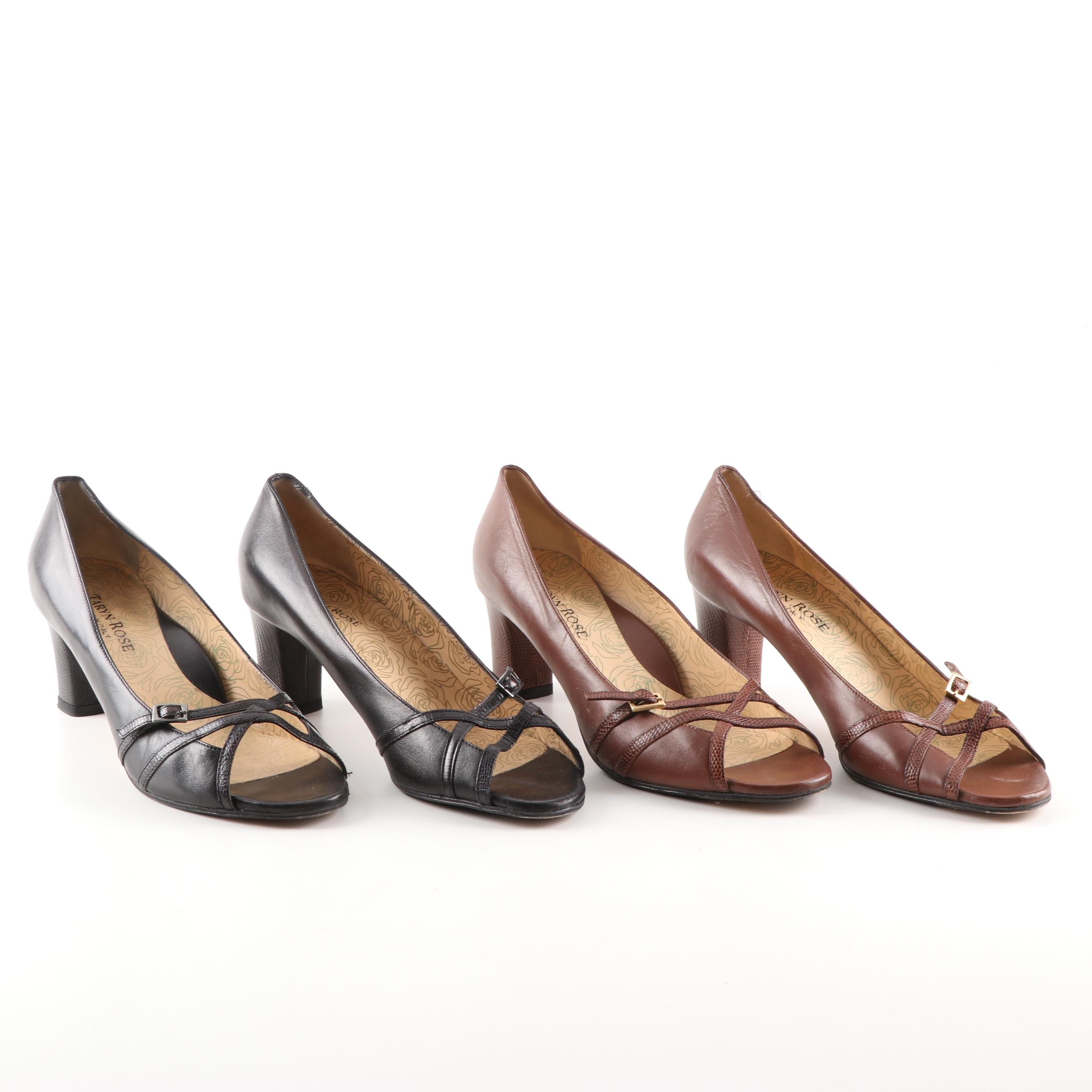 Taryn Rose Open Toe Black and Brown Leather Pumps