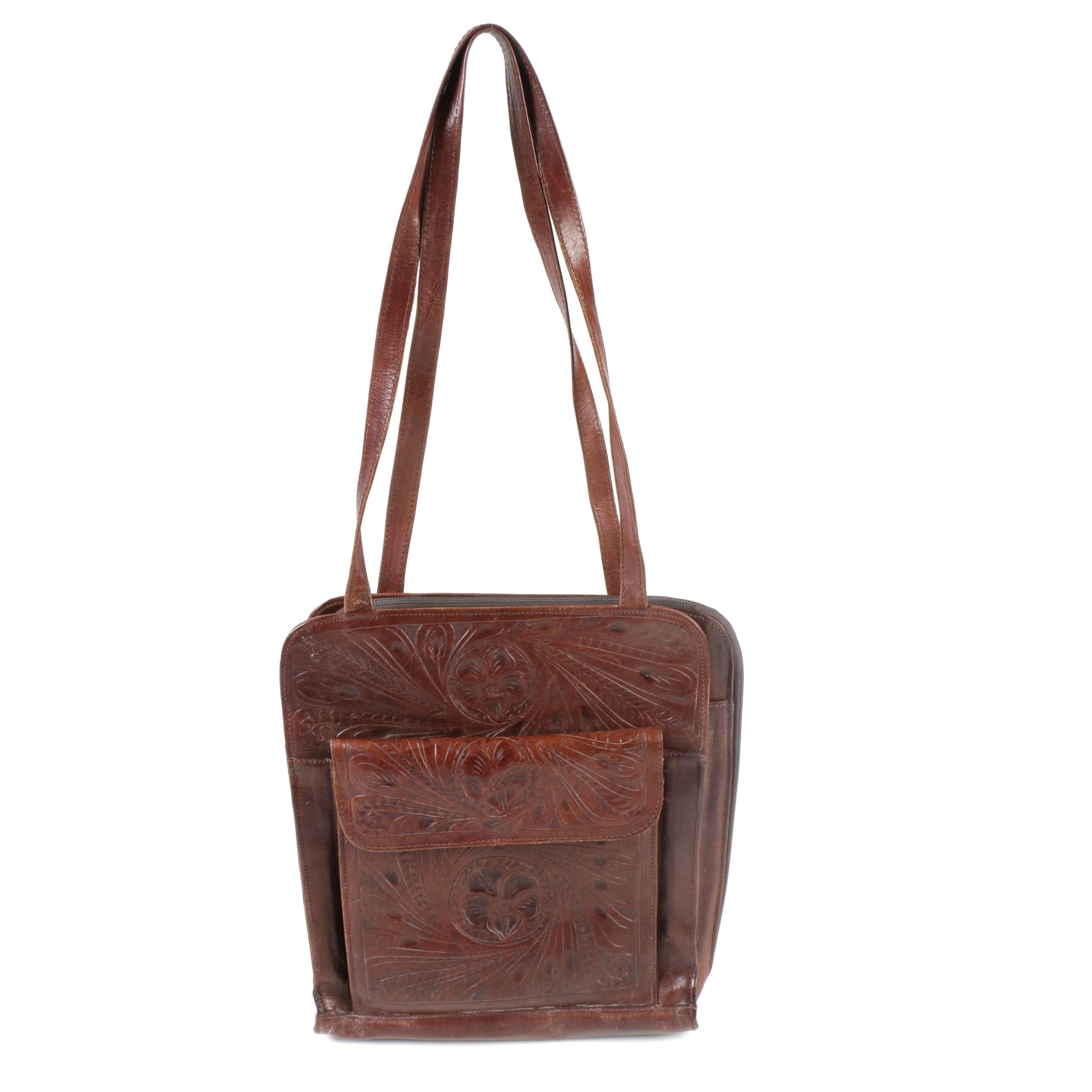 Leaders in Leather Tooled Leather Shoulder Bag, Made in Paraguay